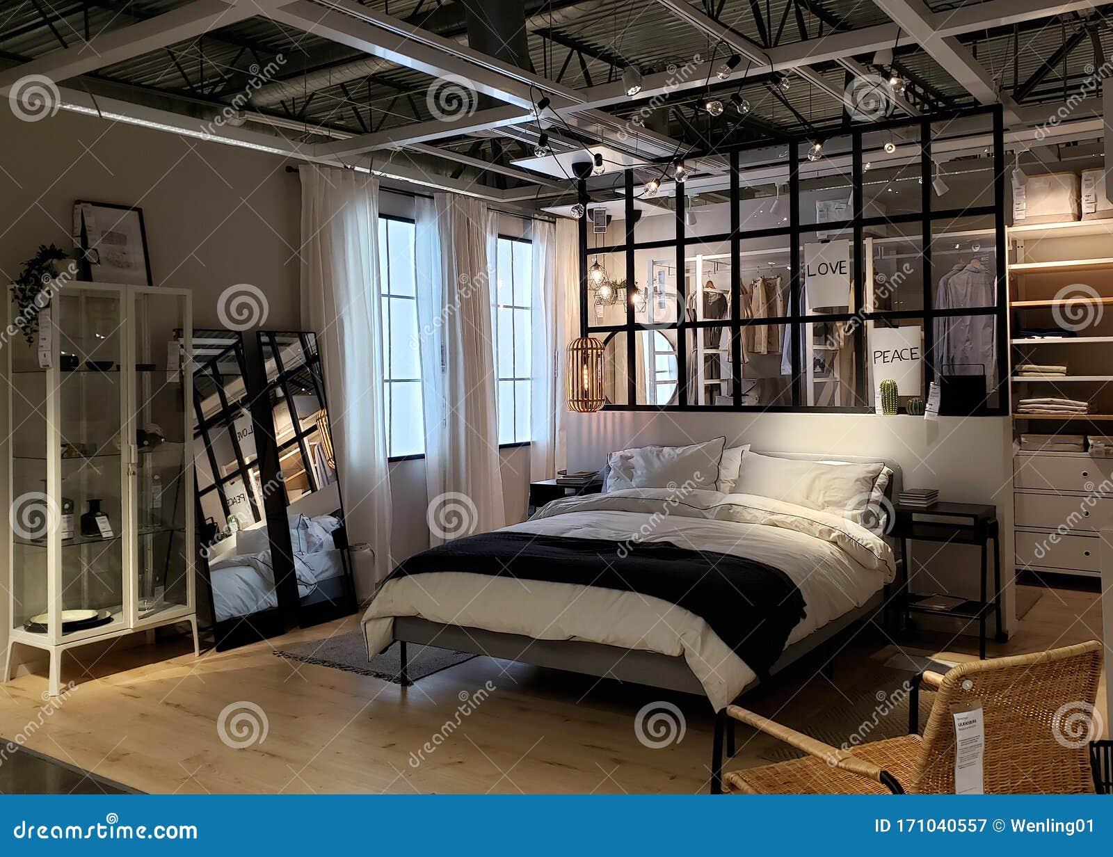Nice modern bedroom design editorial photography. Image of closet