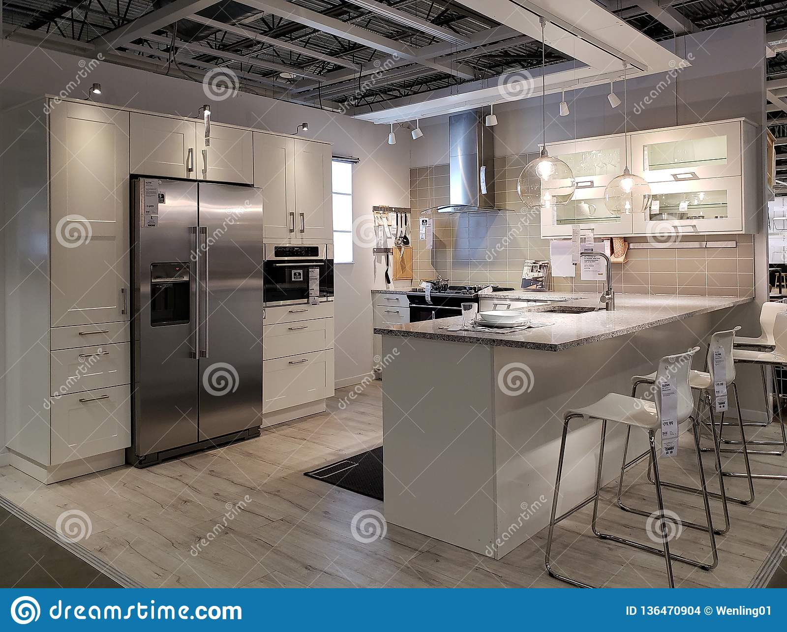 Nice Modern Kitchen Design In Store IKEA Editorial Stock ...