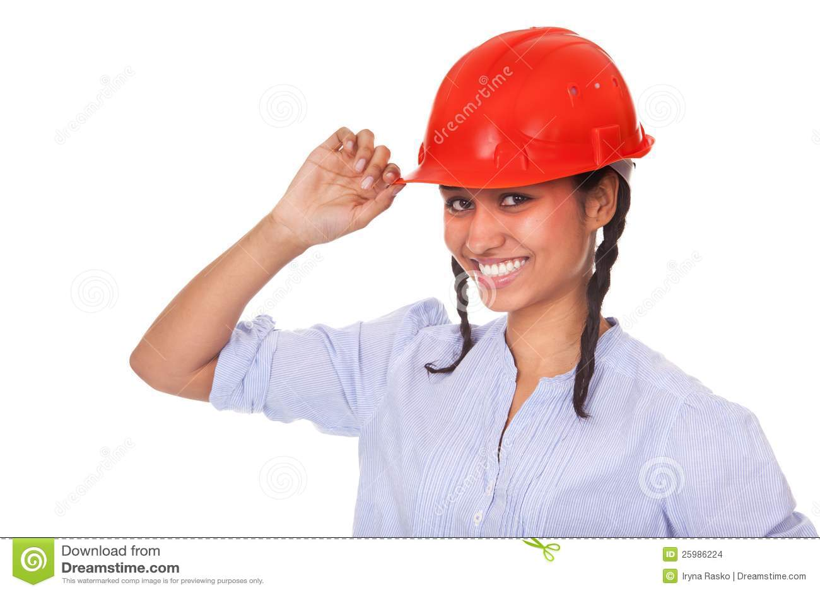 Nice multi-ethnic girl in red hard hat