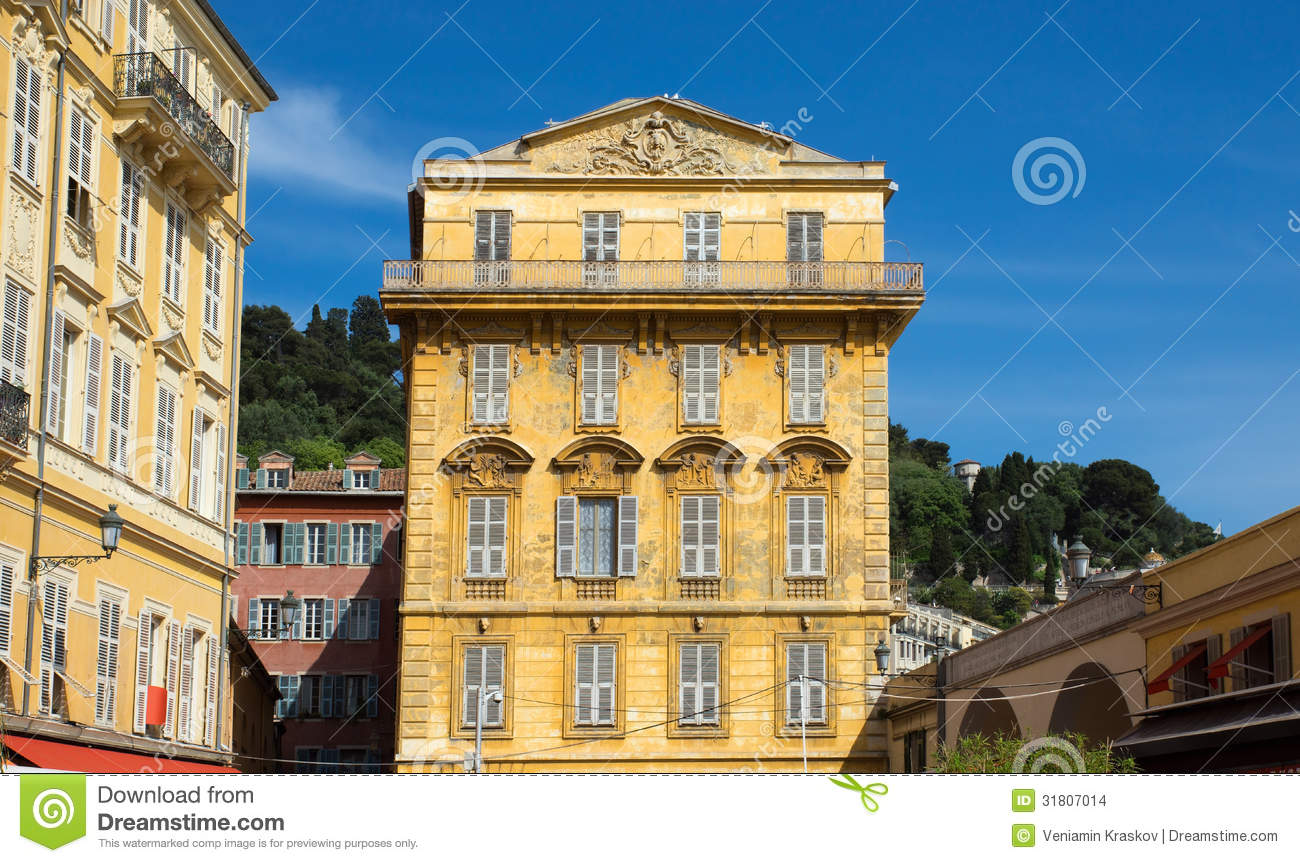 Nice old building in the cours saleya stock images for Nice building images