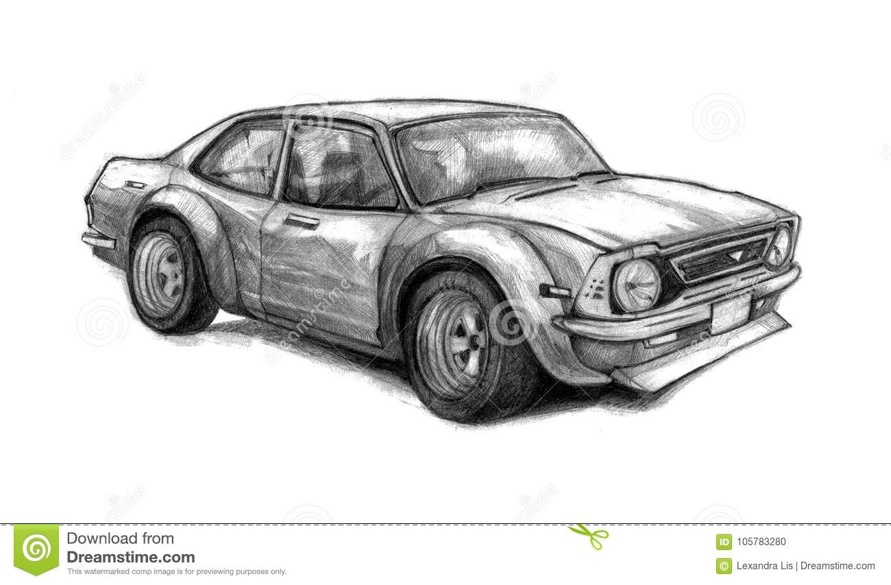 Nice Old School Car. Beautifully Drawn By Hand Graphic Illustration ...