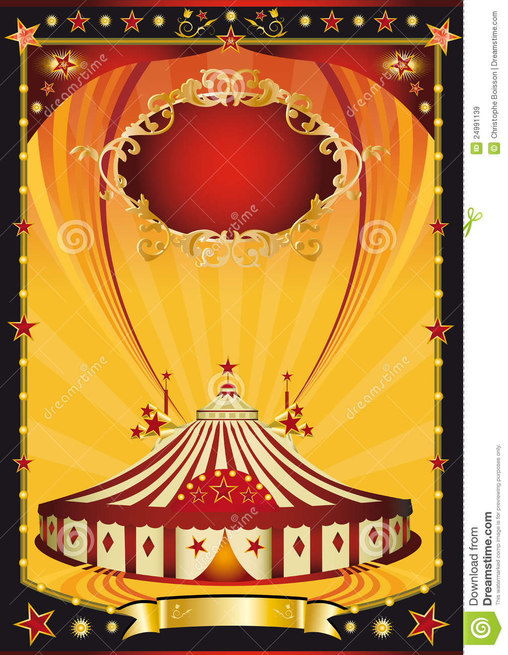 Nice orange and black circus poster stock vector for Circus posters free