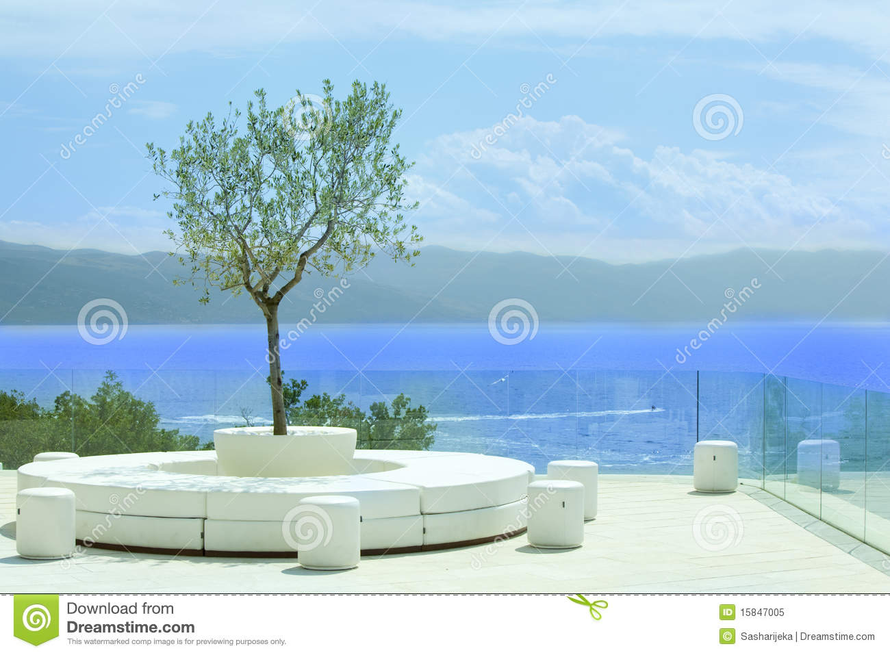 Nice Patio By The Sea Royalty Free Stock Photo