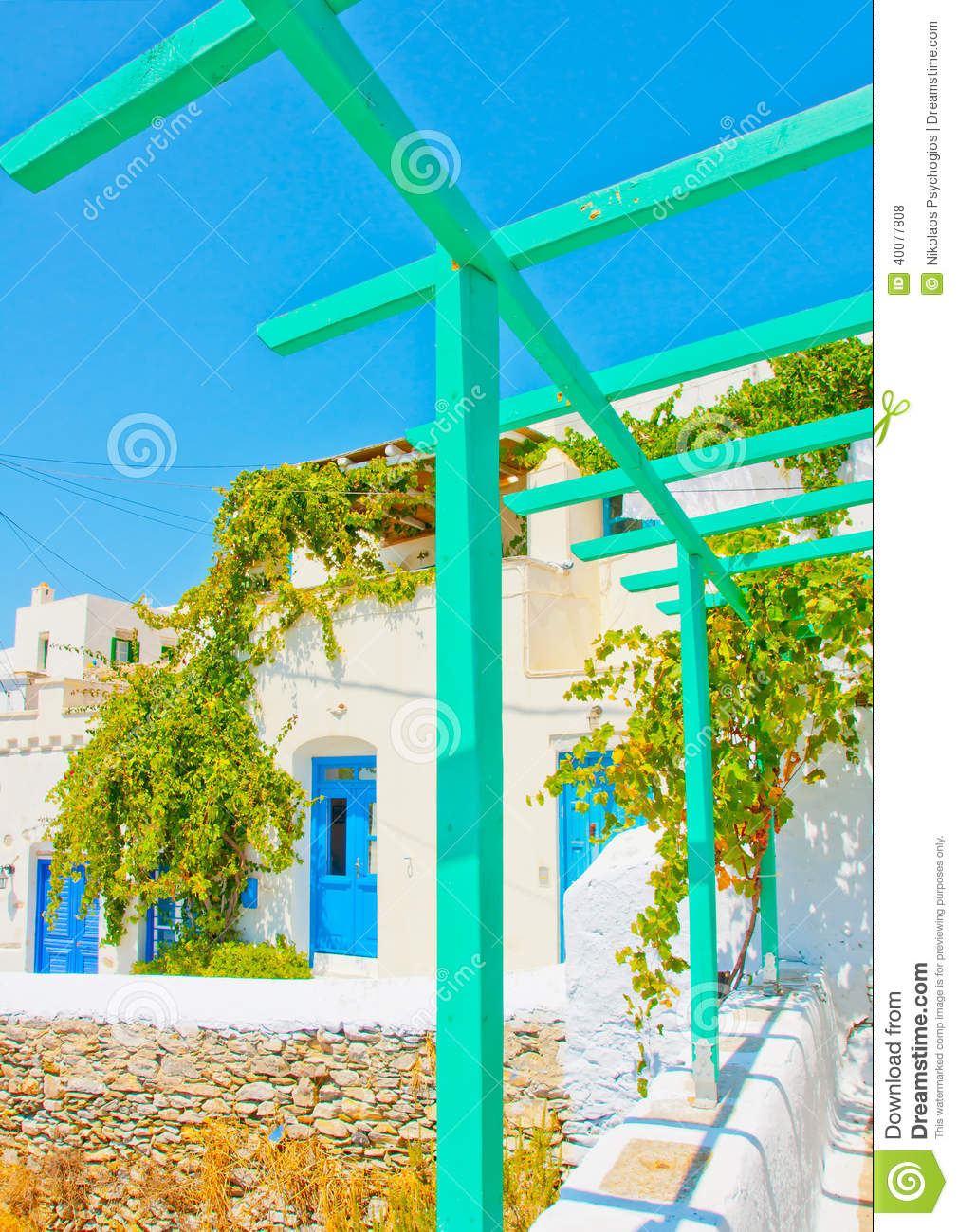 Old beautiful traditional house in chora the capital of amorgos island - Nice Pergola
