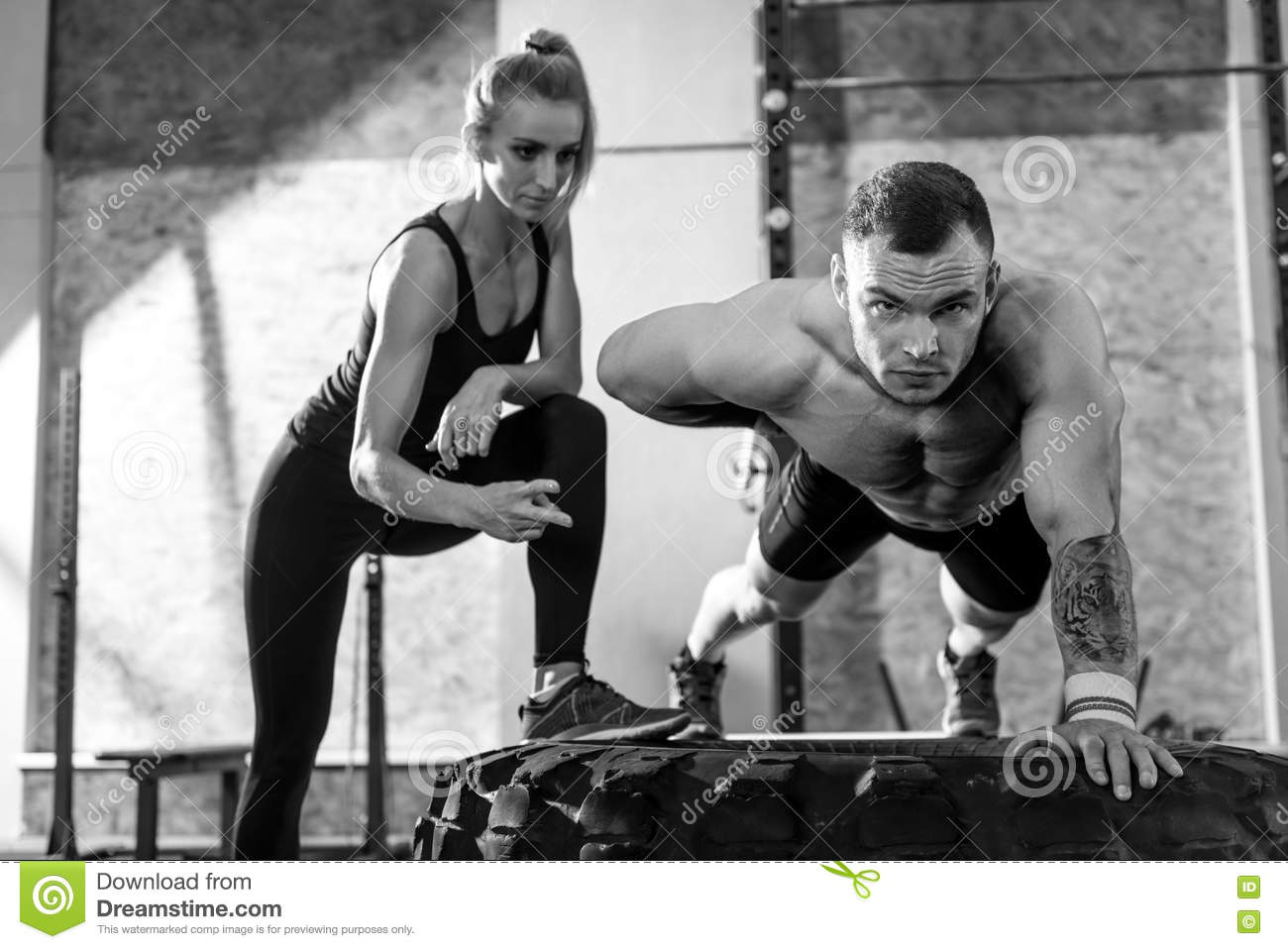 Nice Pleasant Woman Counting The Amount Of Push Ups Stock Image