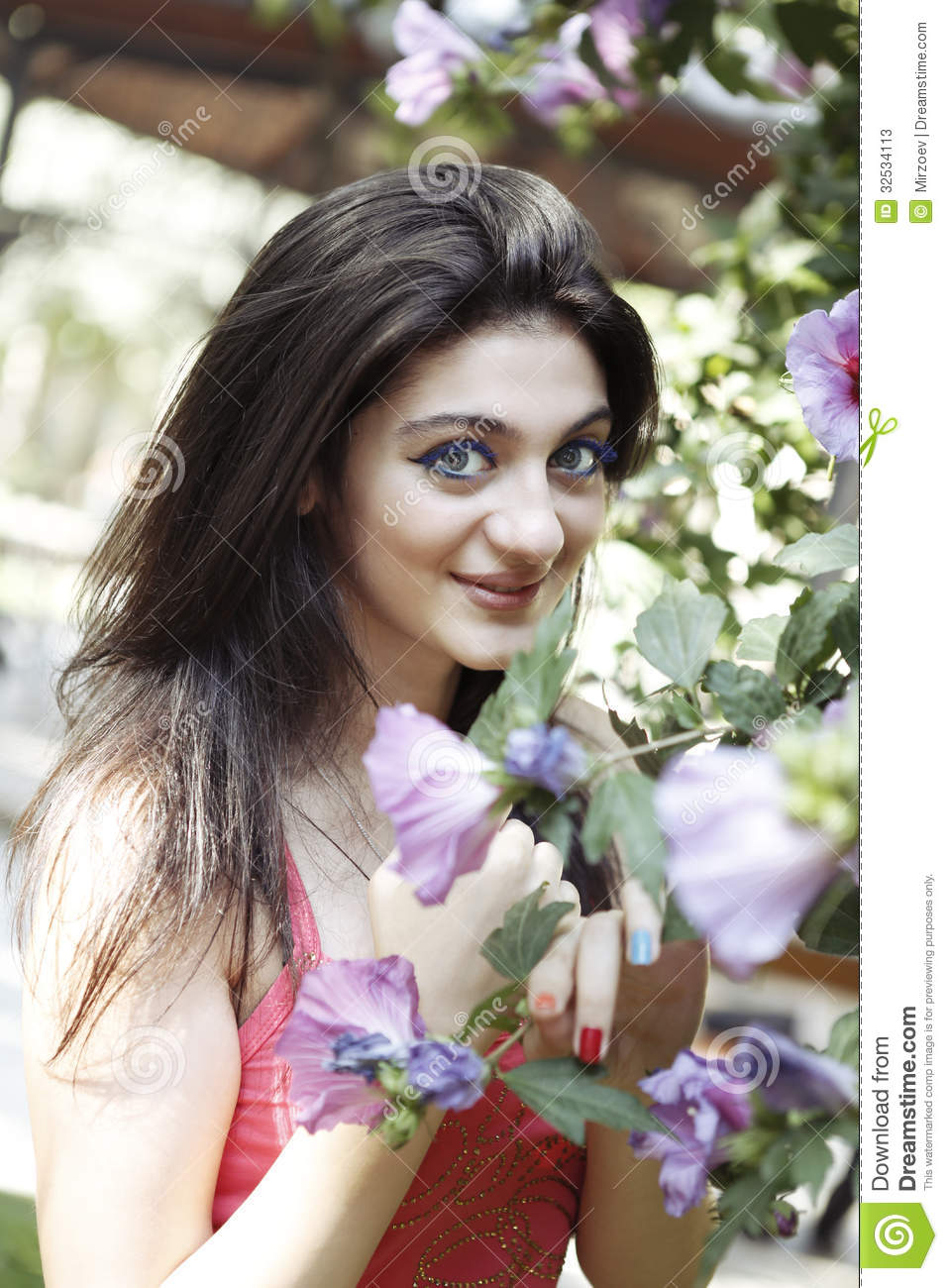 nice pretty girl and flowers stock image - image of fashion, health