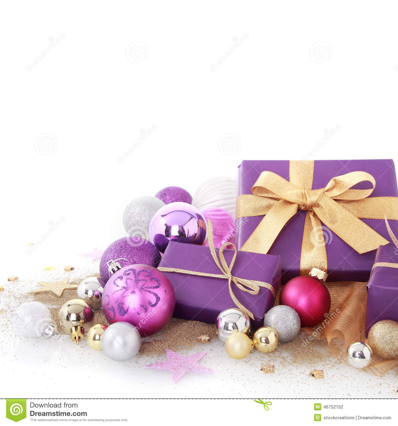 Nice Purple Christmas Decors On White Background Stock