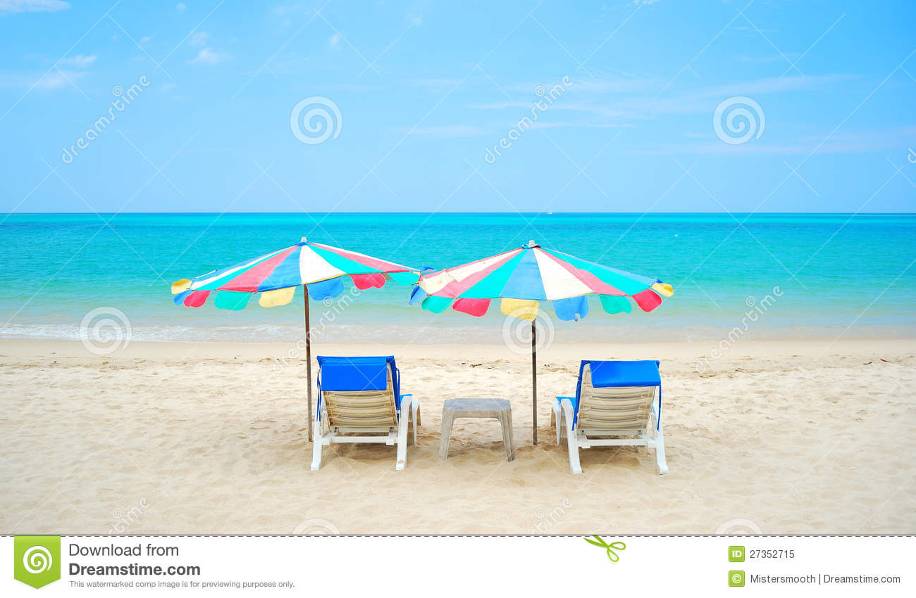 The Nice Sea And The Chair On The Beach Royalty Free Stock Photo ...