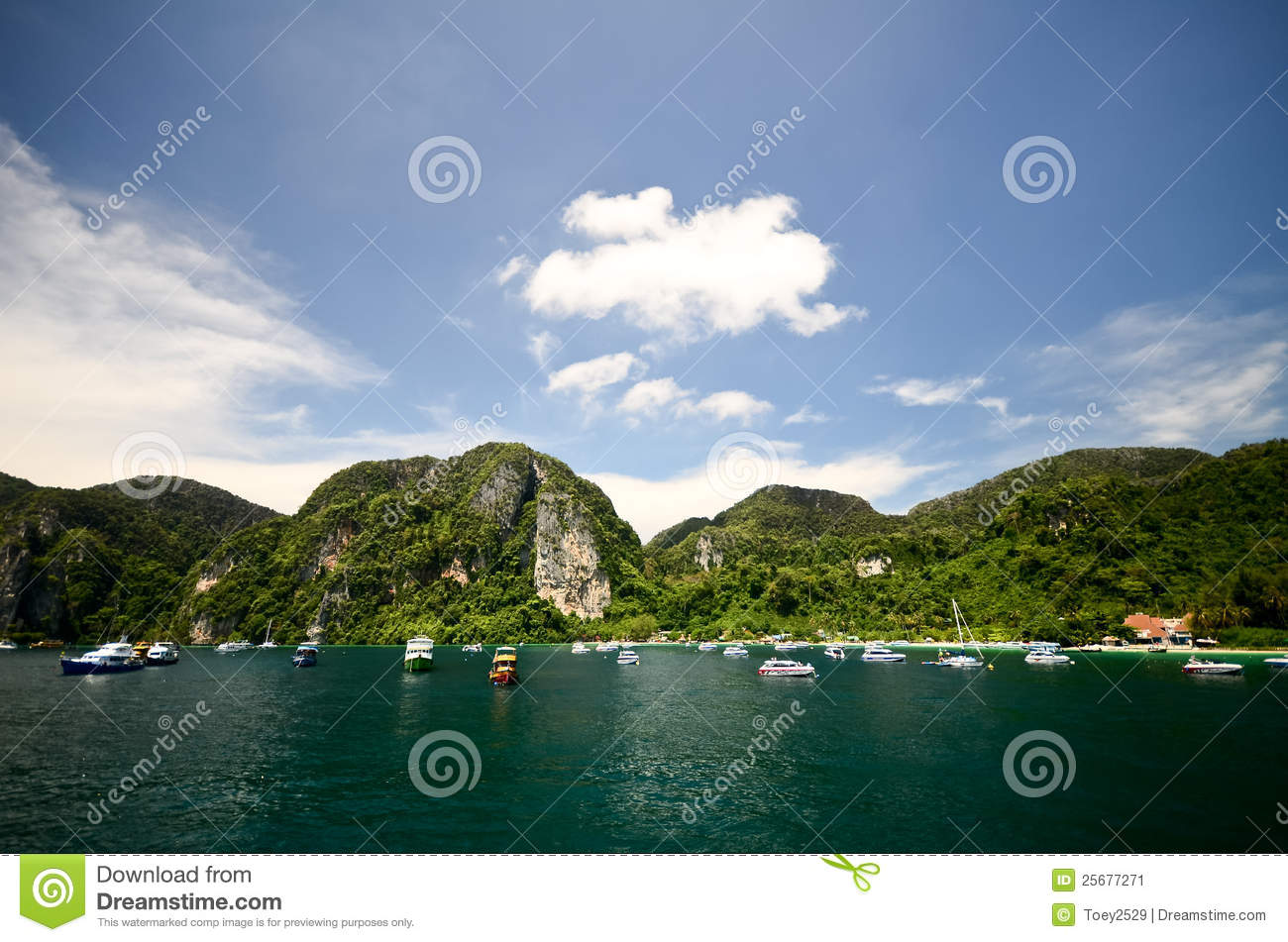 Nice Sea With Mountain Background Stock Image