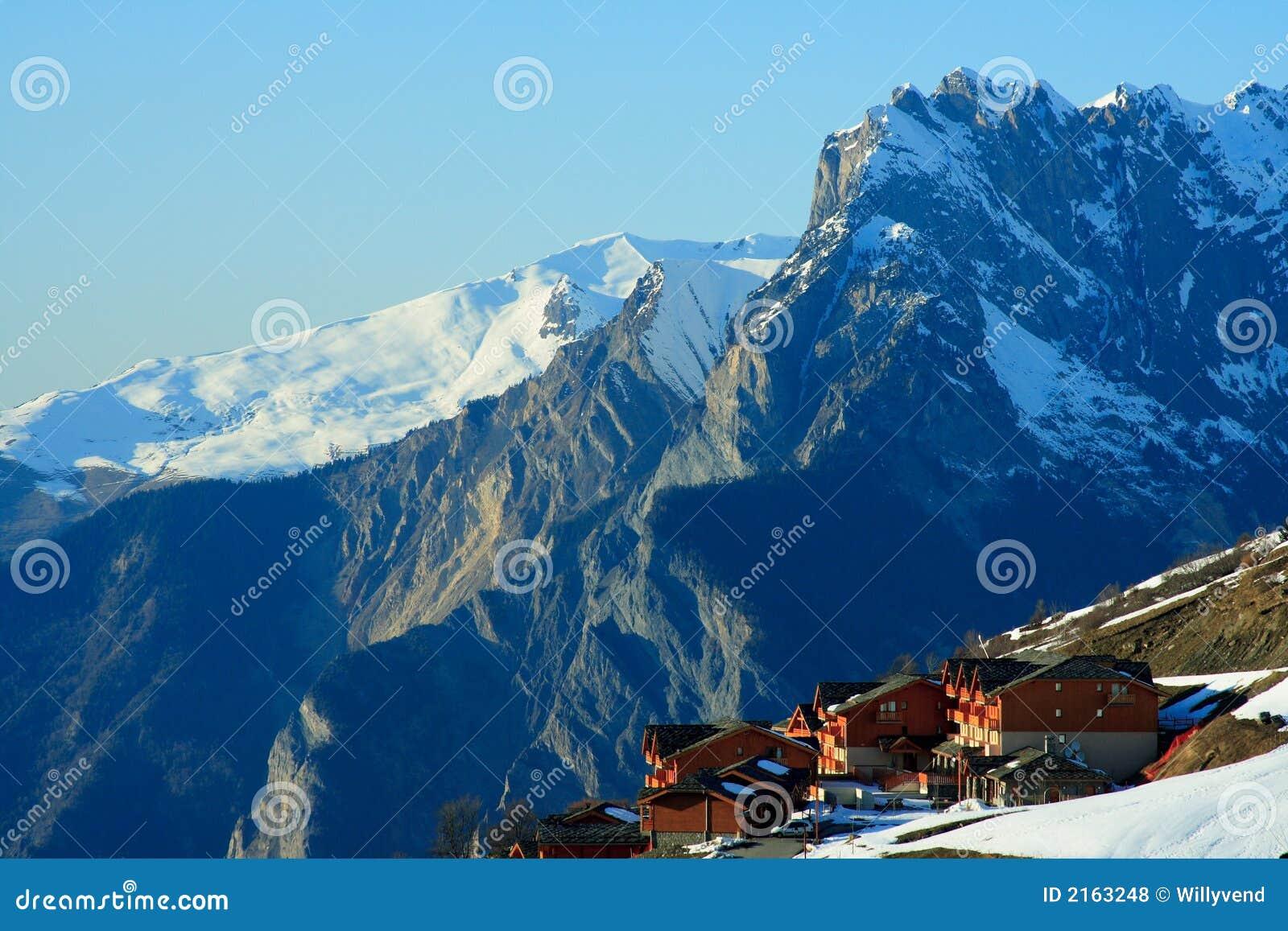 nice ski resort stock photo. image of blue, resort, chalet - 2163248
