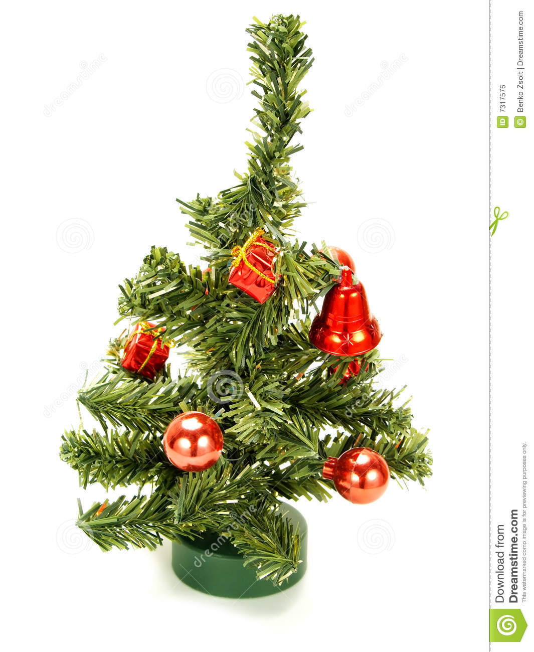 Nice small christmas tree with red decoration royalty free for Nice small trees