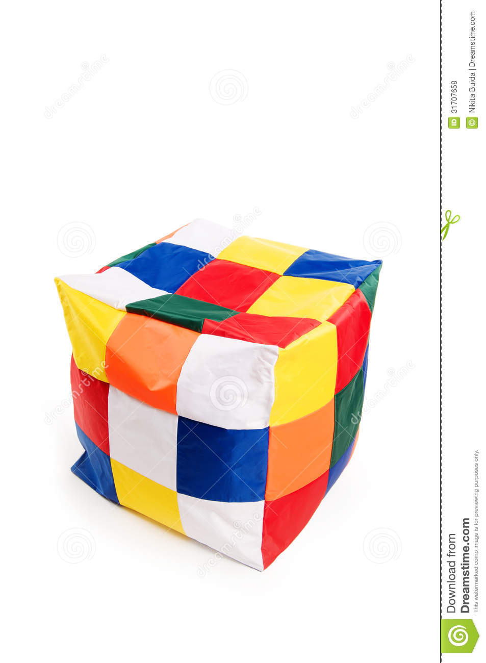 Marvelous Nice And Soft Beanbag Chair In Shape Of Cube Stock Photo Evergreenethics Interior Chair Design Evergreenethicsorg