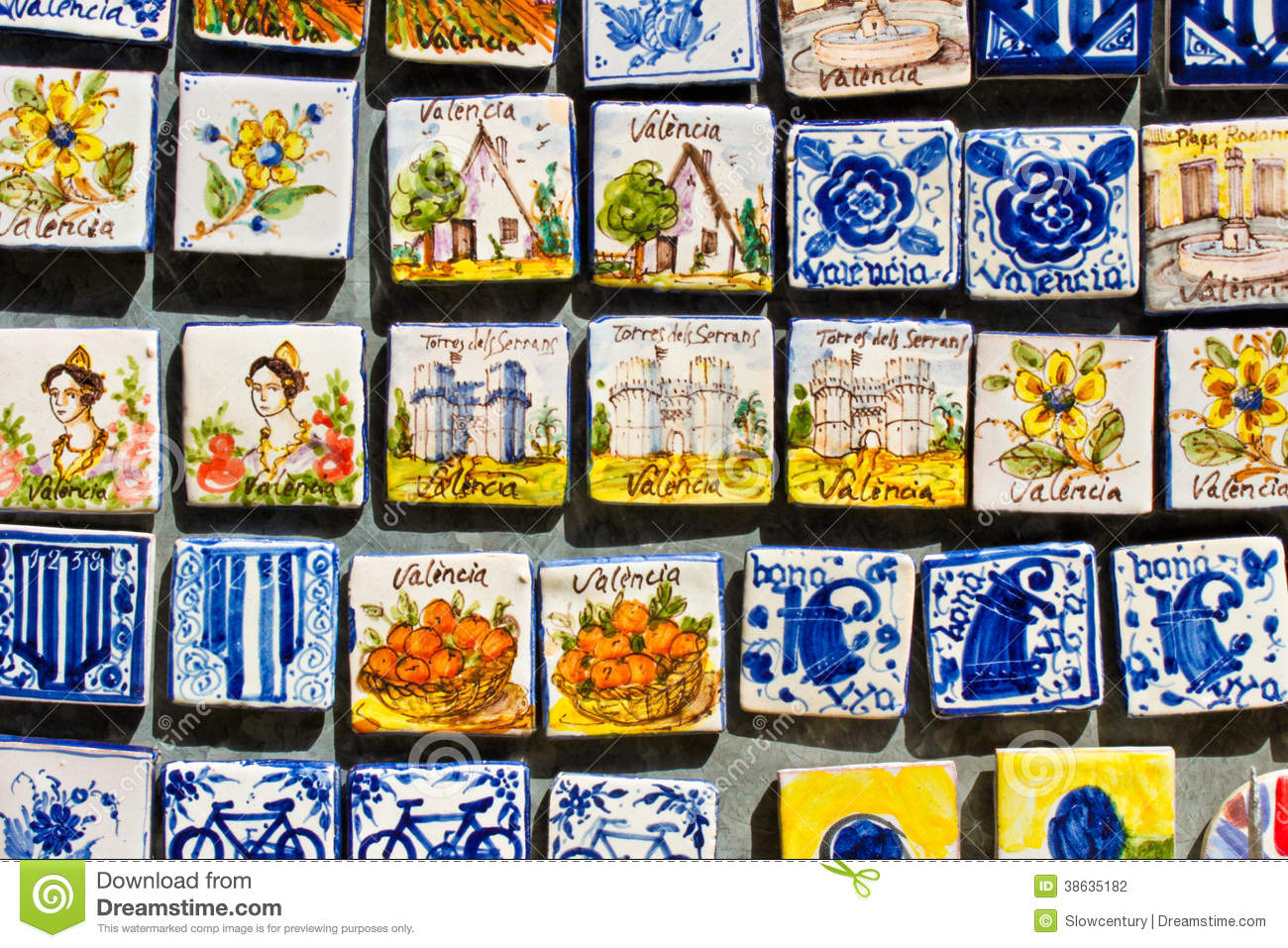 Nice souvenir magnets in valencia spain editorial photography editorial stock photo dailygadgetfo Images