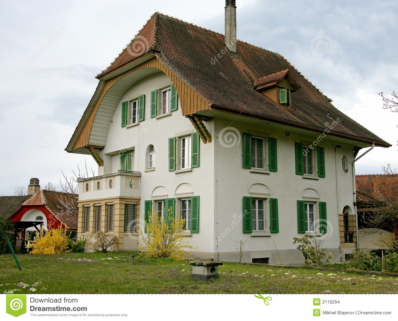 Traditional Wooden Swiss Houses Garden Against Stock Photo ...