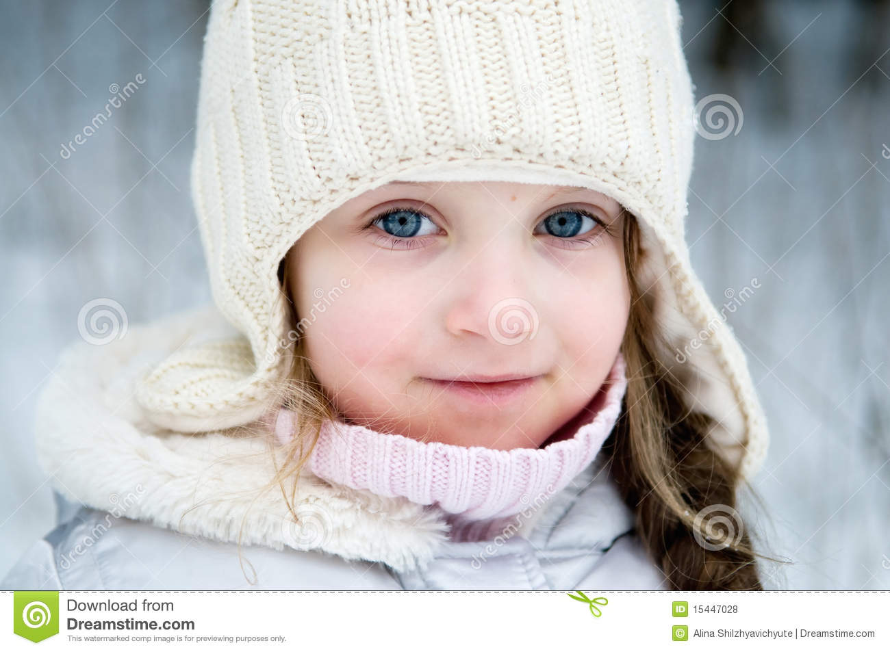 Nice Toddler Girl In White Winter Hat Stock Photo - Image of cold ... 174299d7b15