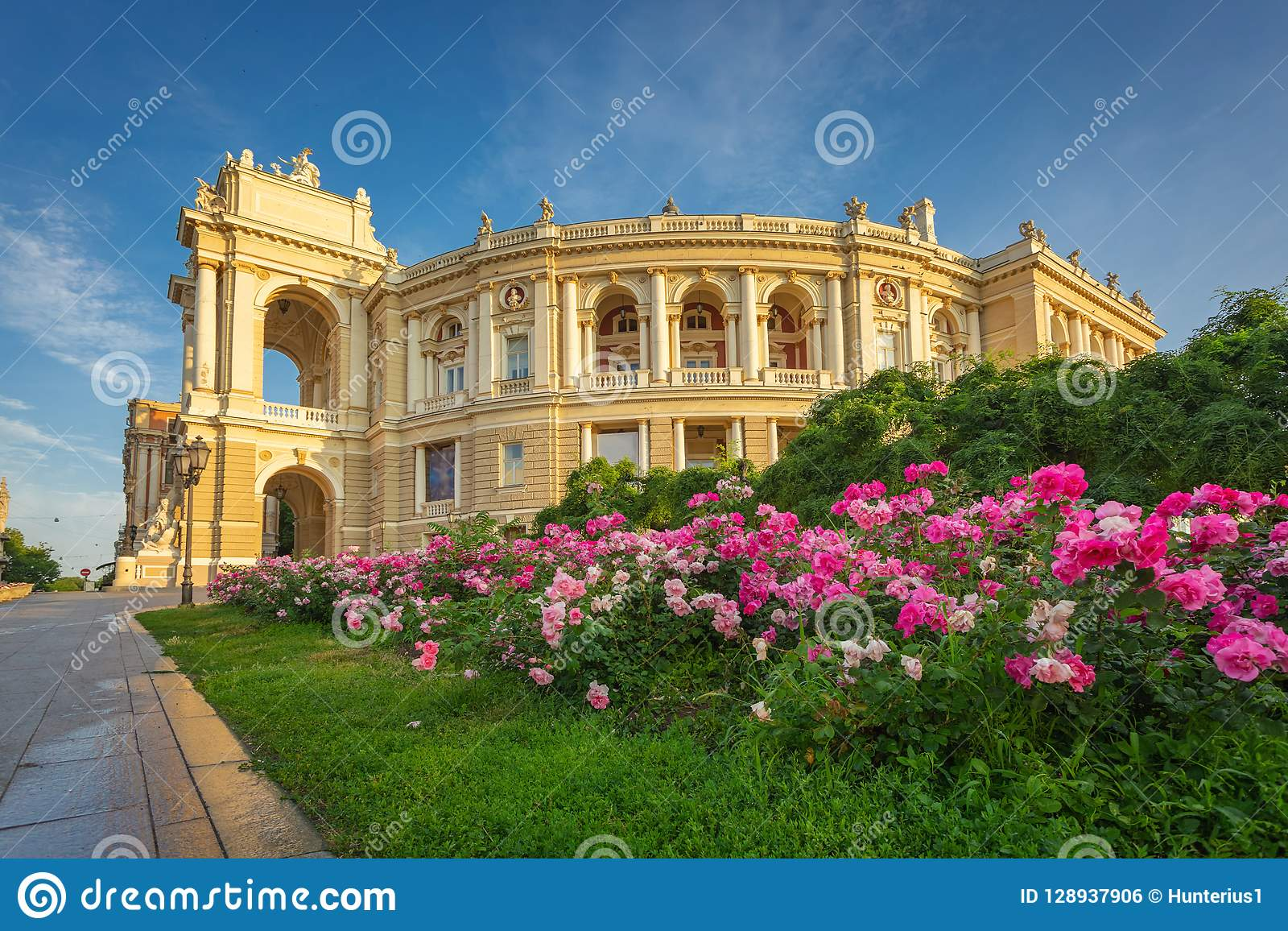Odessa National Academic Theatre of Opera and Ballet vibrant exterior view in warm morning sun