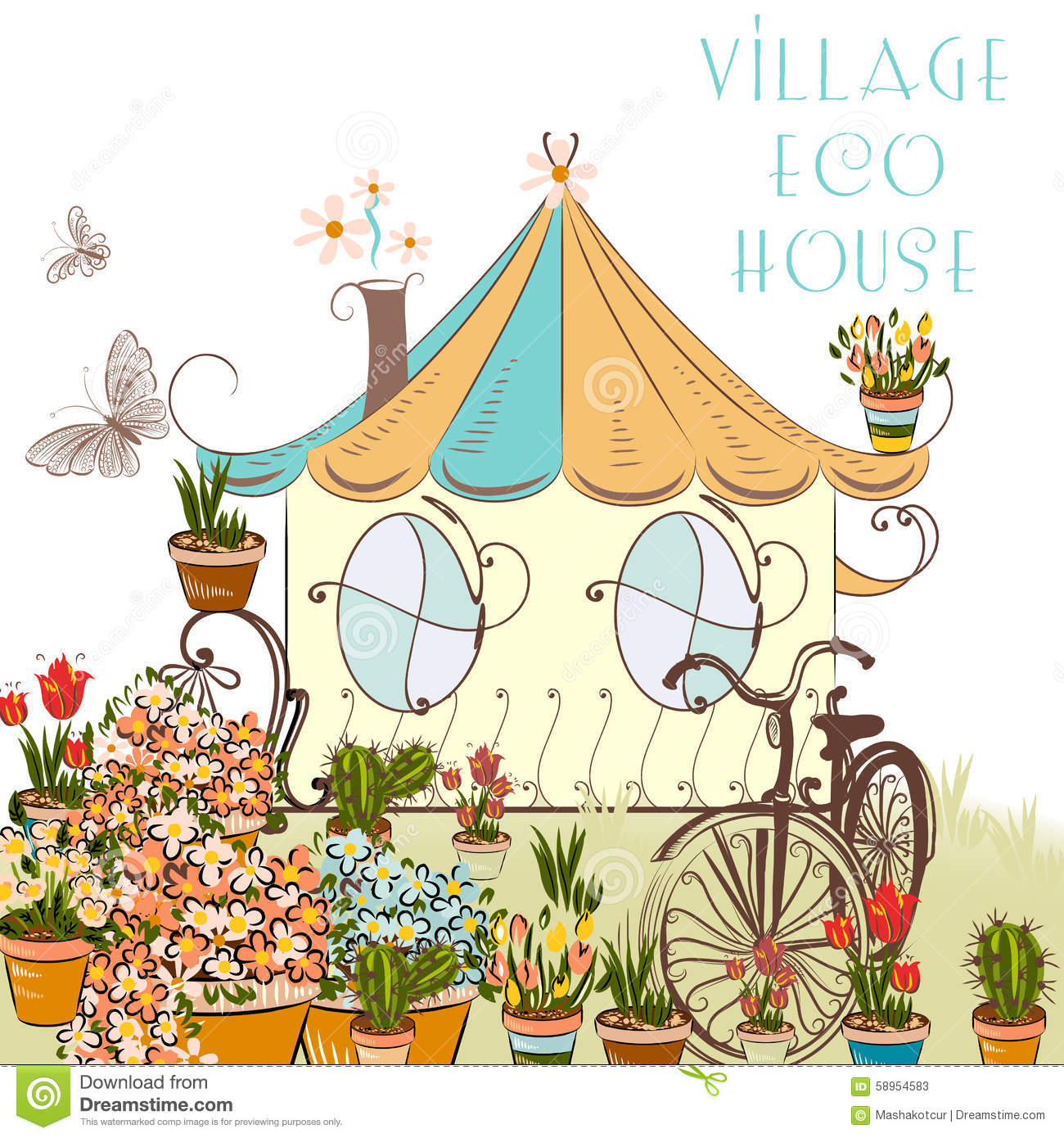 Roses In Garden: Nice Vector Illustration With Little Village House And