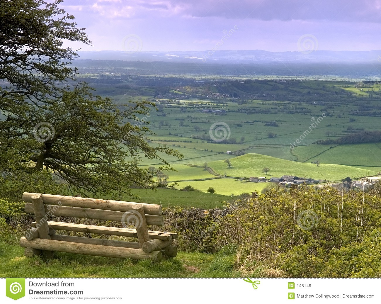 view from on top of the Mendip hills in Somerset England.