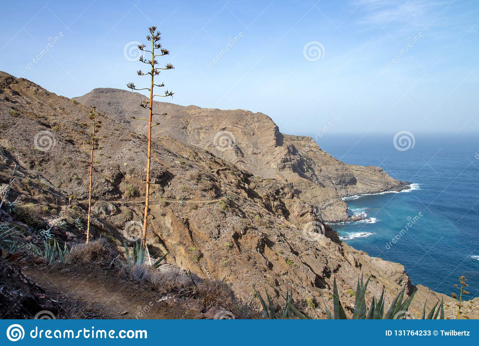 Nice view of north coast with ocean and mountains in La Gomera