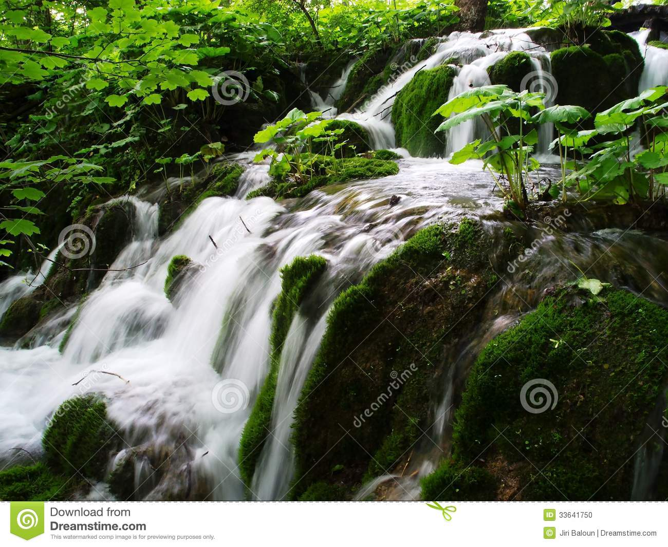 Nice Waterfall Stock Photo. Image Of Grass, River