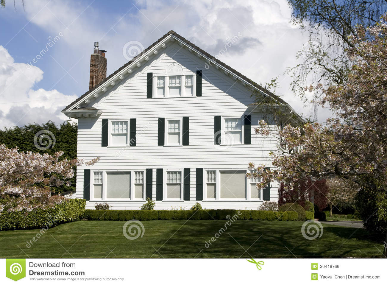 Nice white house with simple design royalty free stock for Simple house but elegant