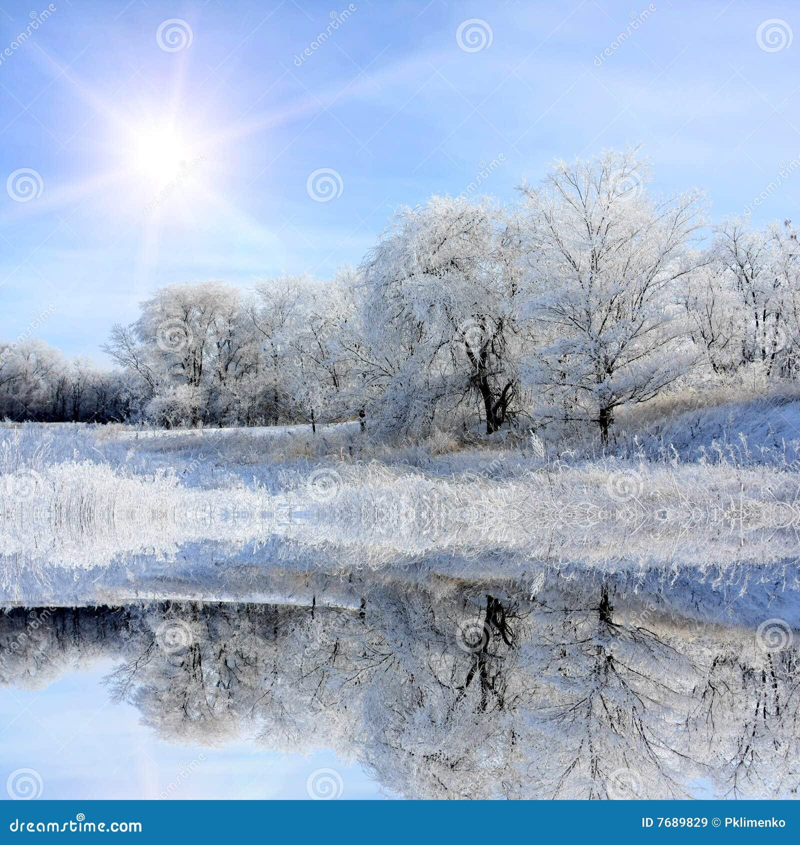 Nice Winter Lake Scene Royalty Free Stock Images Image