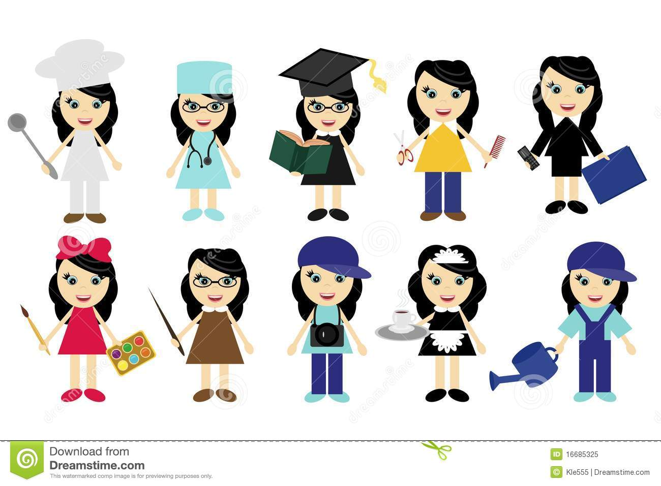 Different Jobs Girls On White Stock Image - Image: 22553541