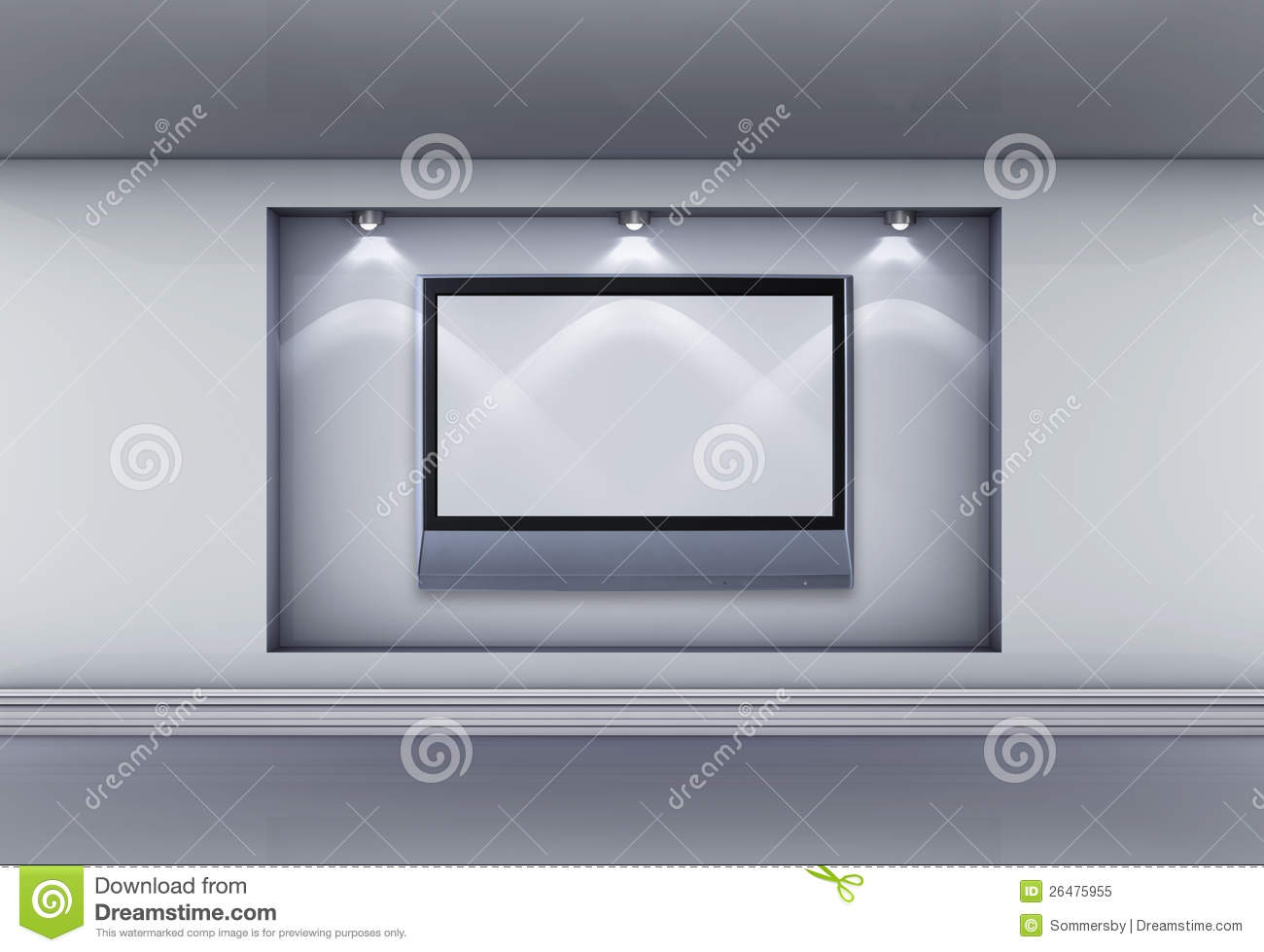 Niche With Lcd Tv And Spotlights For Exhibit Royalty Free