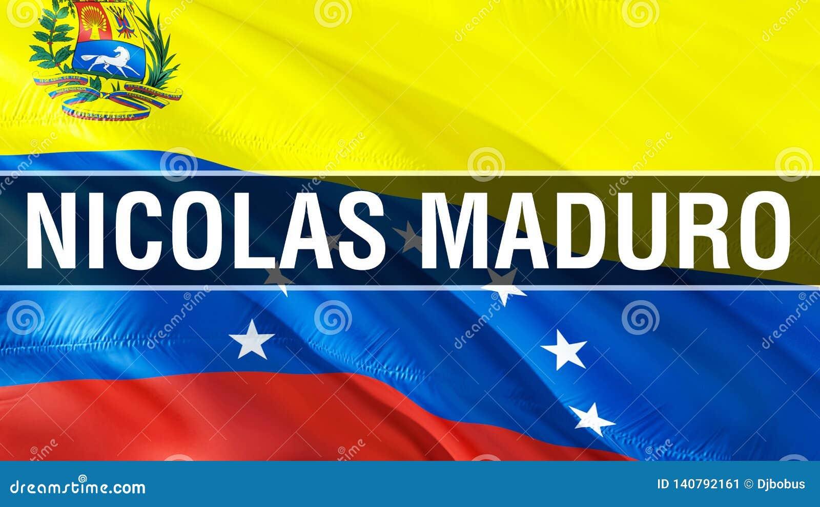 Nicolas Maduro på den Venezuela flaggan vinkande design för flagga 3D Det nationella symbolet av Venezuela, tolkning 3D Nationell