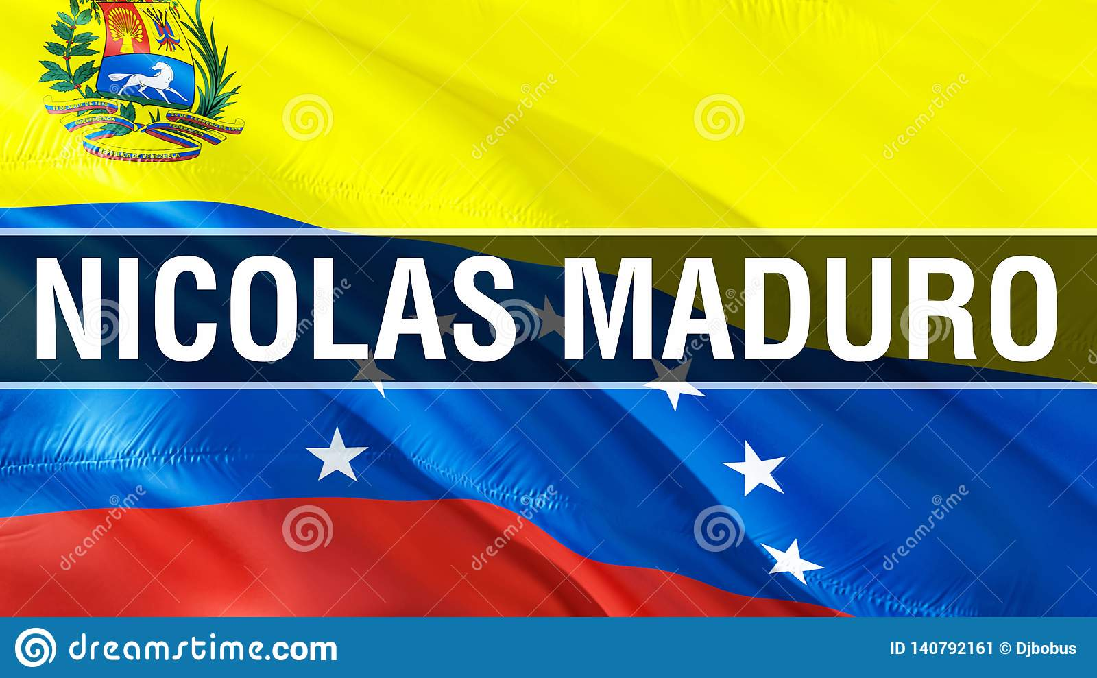 Nicolas Maduro on Venezuela flag. 3D Waving flag design. The national symbol of Venezuela, 3D rendering. National colors and