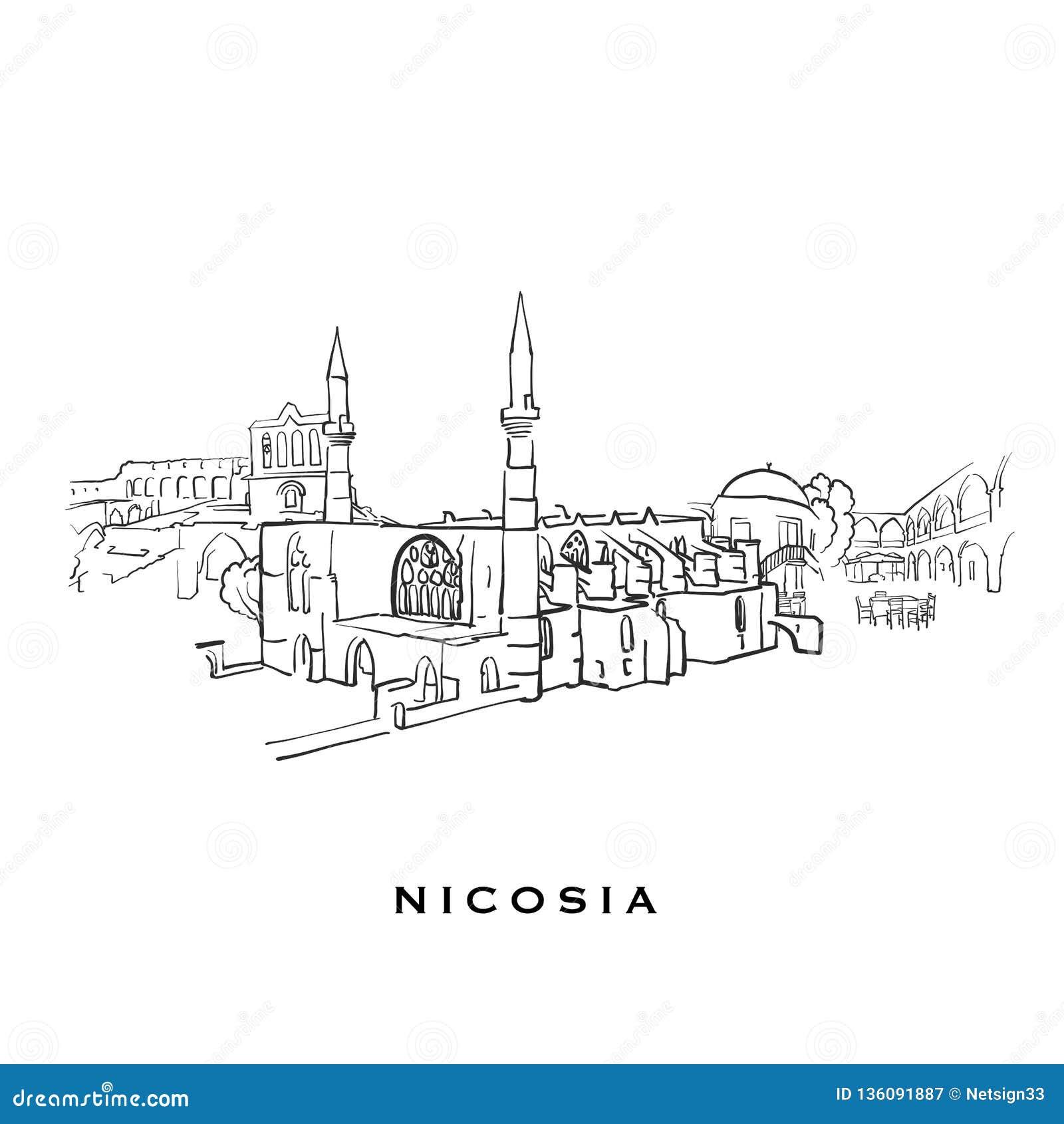 Nicosia Cyprus Famous Architecture Stock Vector - Illustration of