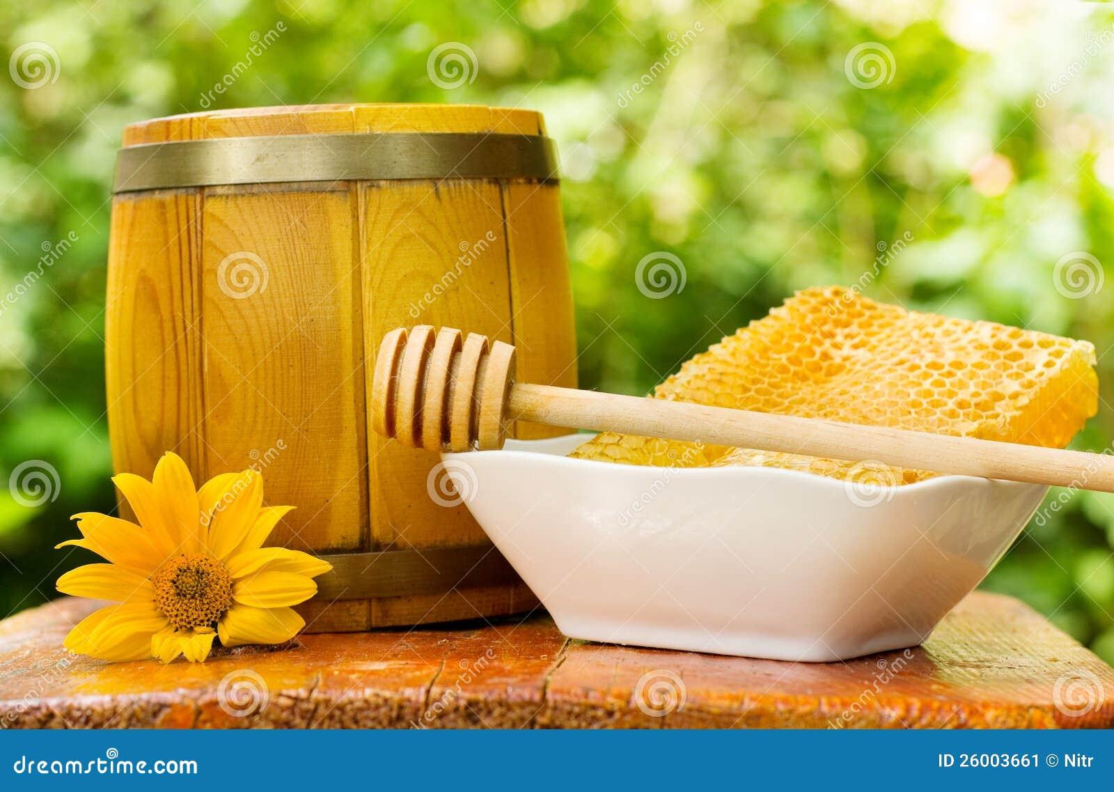 Nid d abeilles et baril de miel