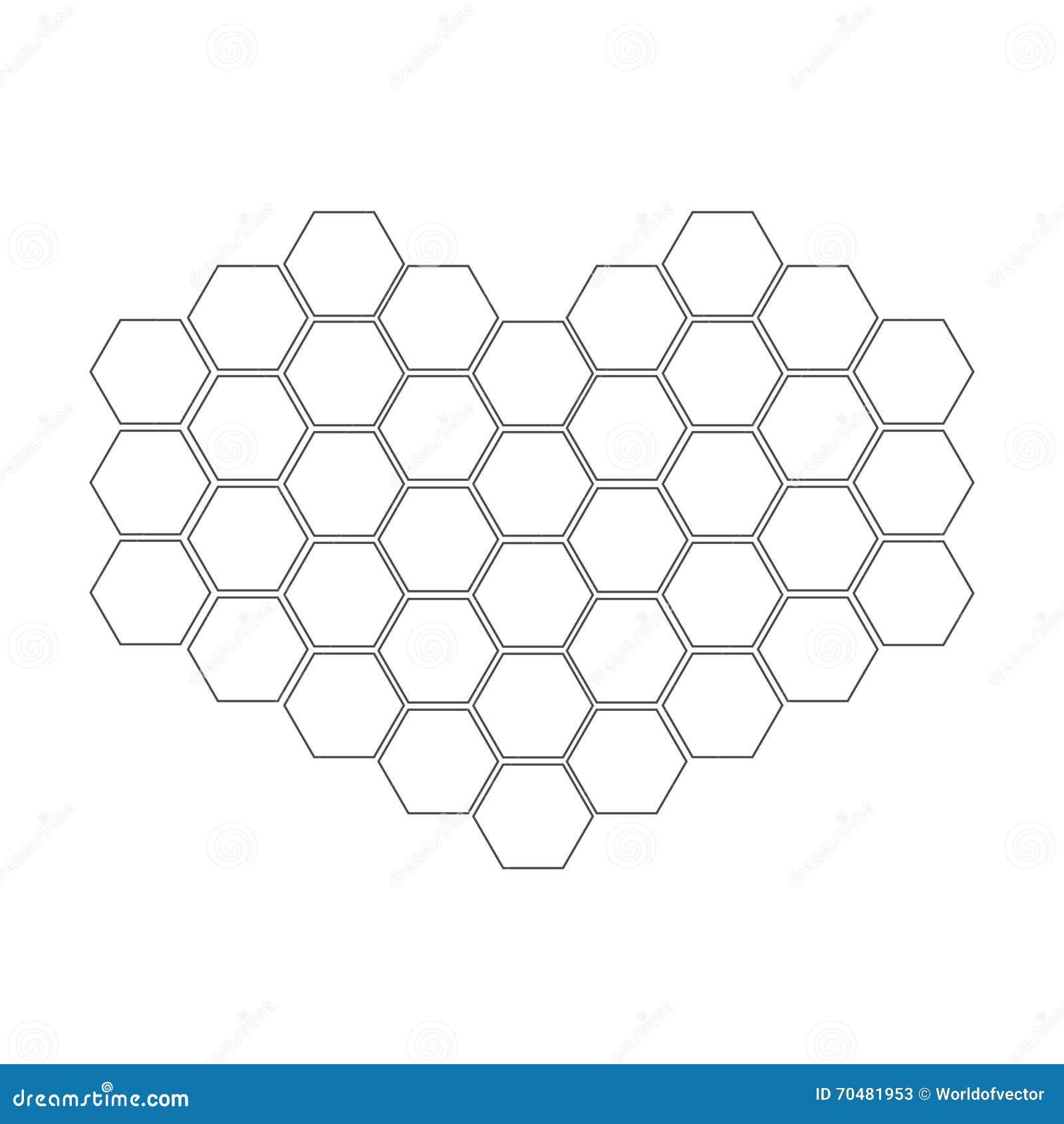 Nid d 39 abeilles r gl dans la forme du coeur l ment de - Dessin de ruche d abeille ...