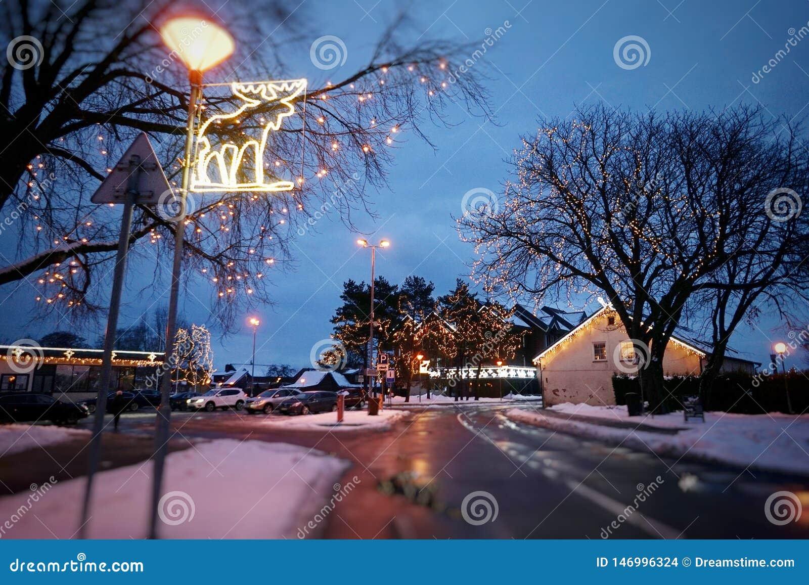 Nida City in Litouwen, tijdens de periode van Kerstmis
