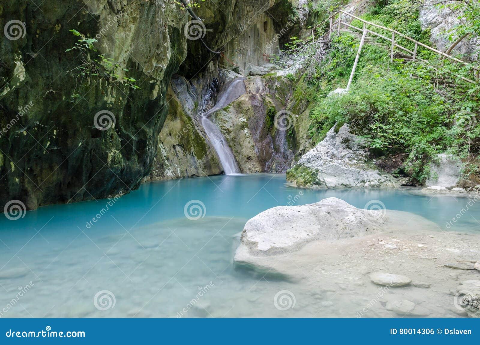 Nidri waterfalls on Lefkada island