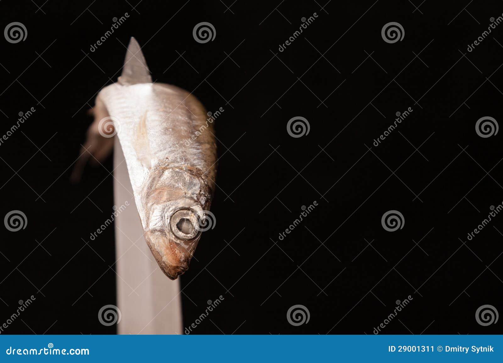 Nieżywy mały rybi skrzywiony na nożu