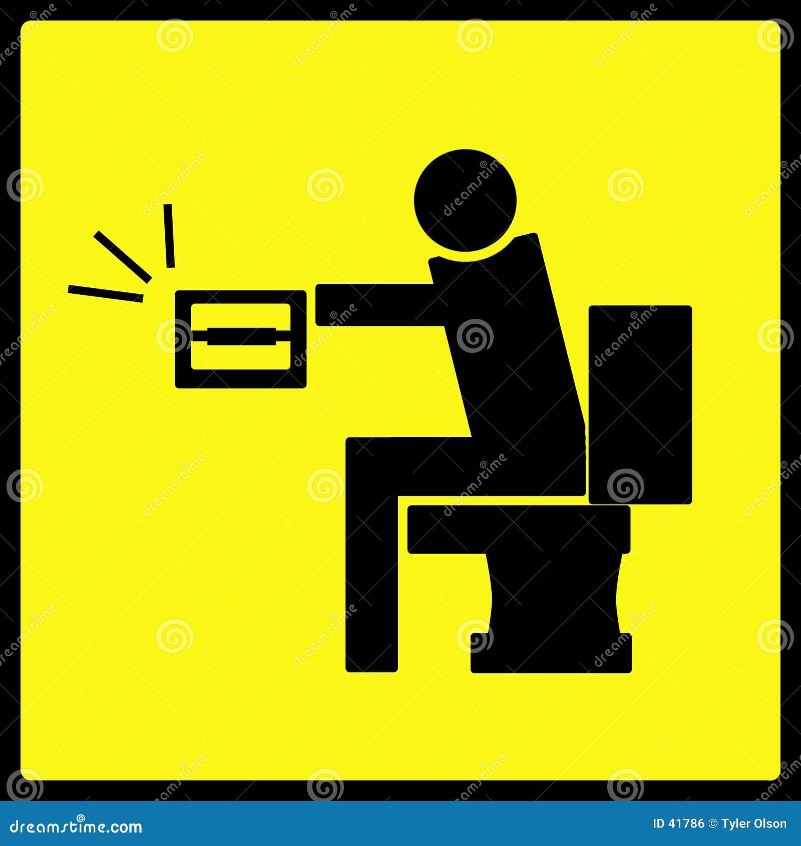 Nie papier toaletowy ostrzeżenie znak