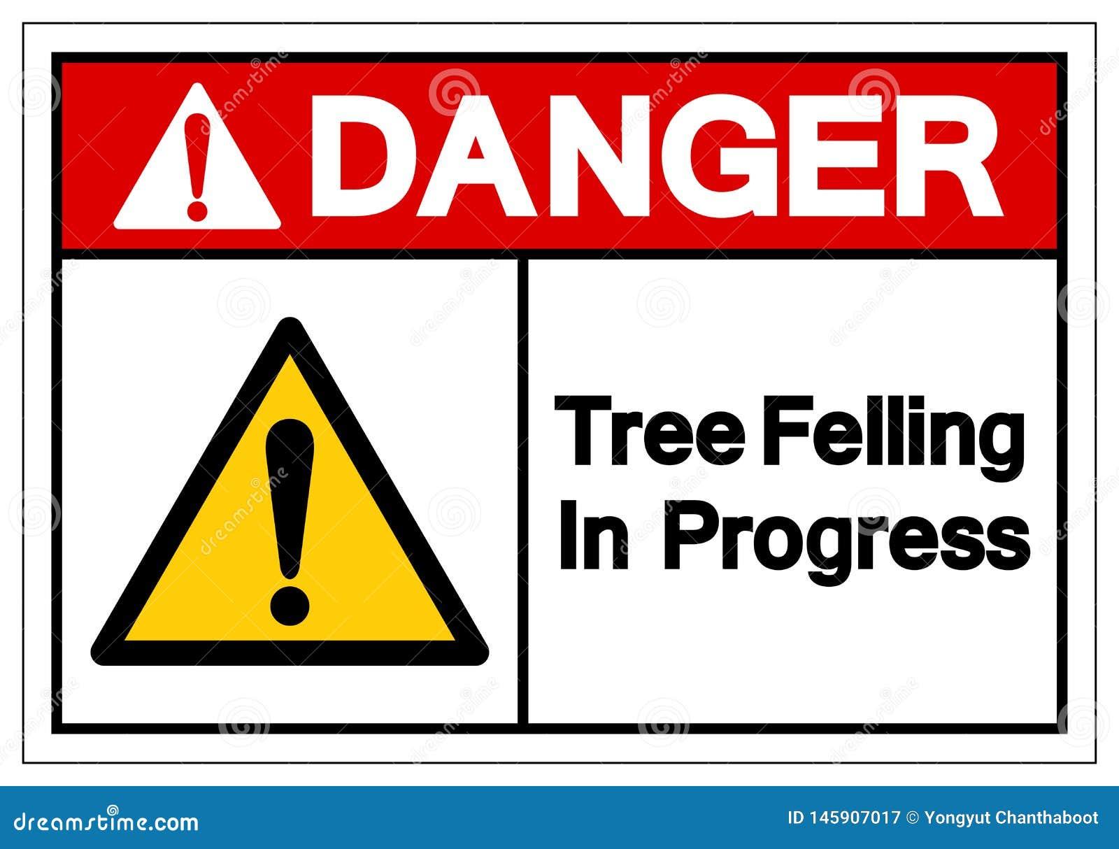 Niebezpieczeństwa drzewo Powalać W Toku symbolu znaka, Wektorowa ilustracja, Odizolowywa Na Białej tło etykietce EPS10