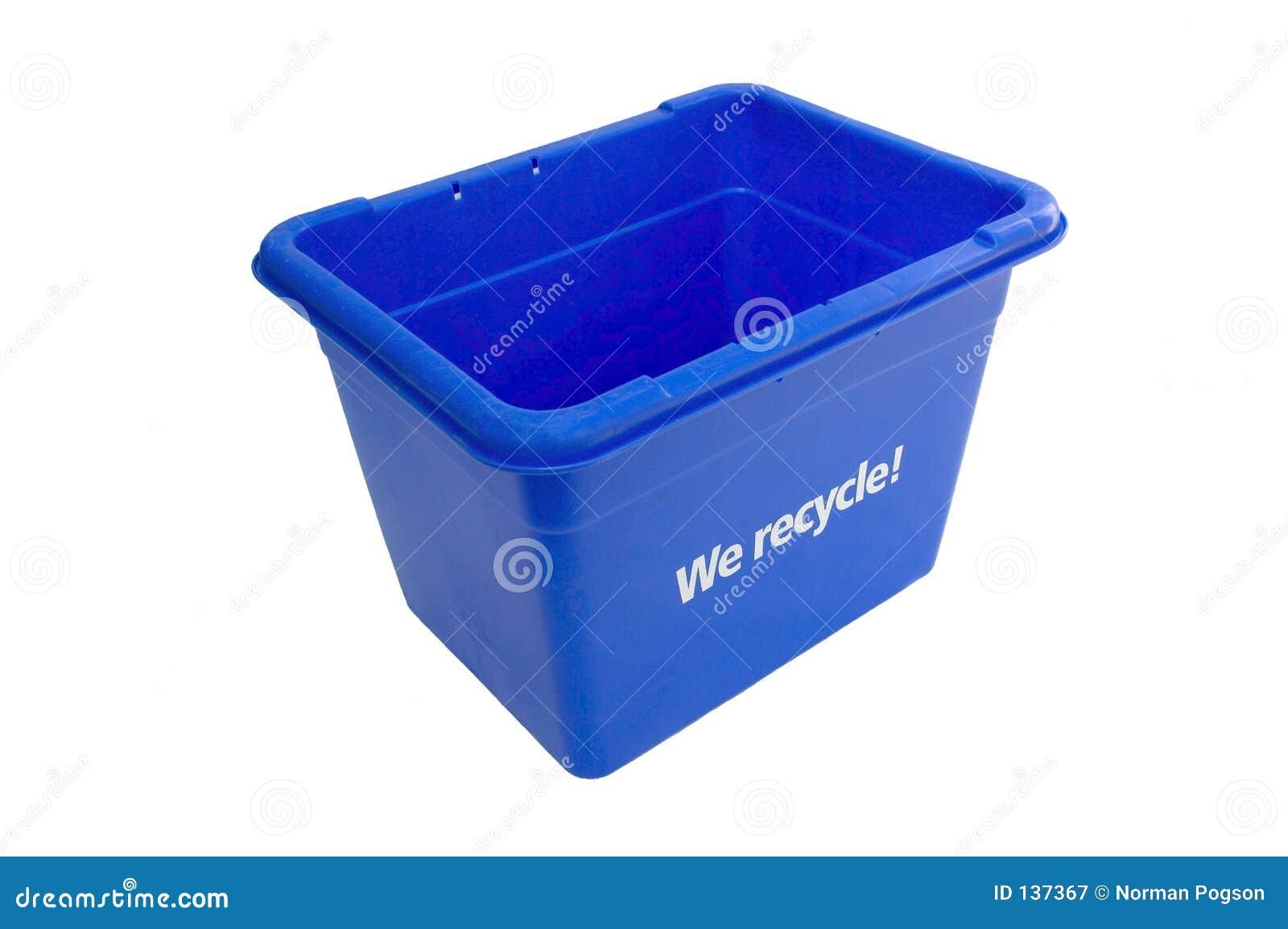 Niebieska budka recyklingu