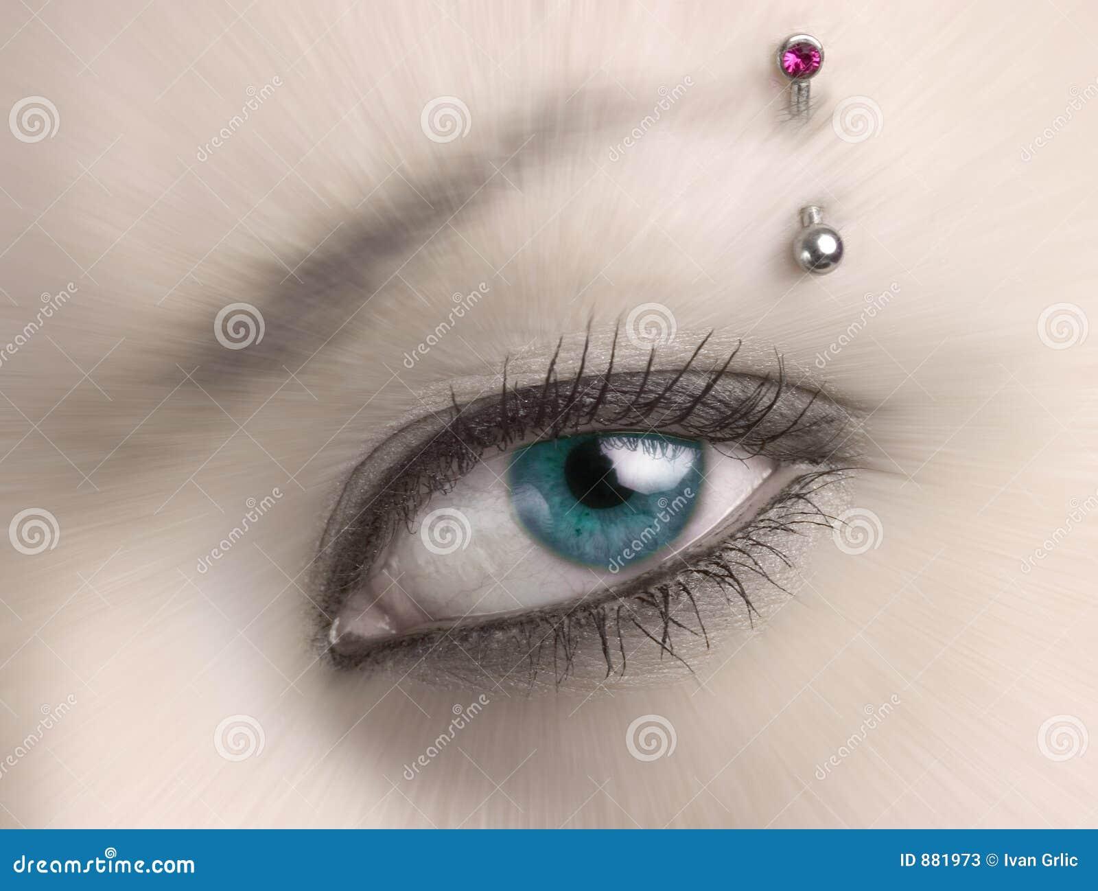 Niebieska plamy oko kobieta