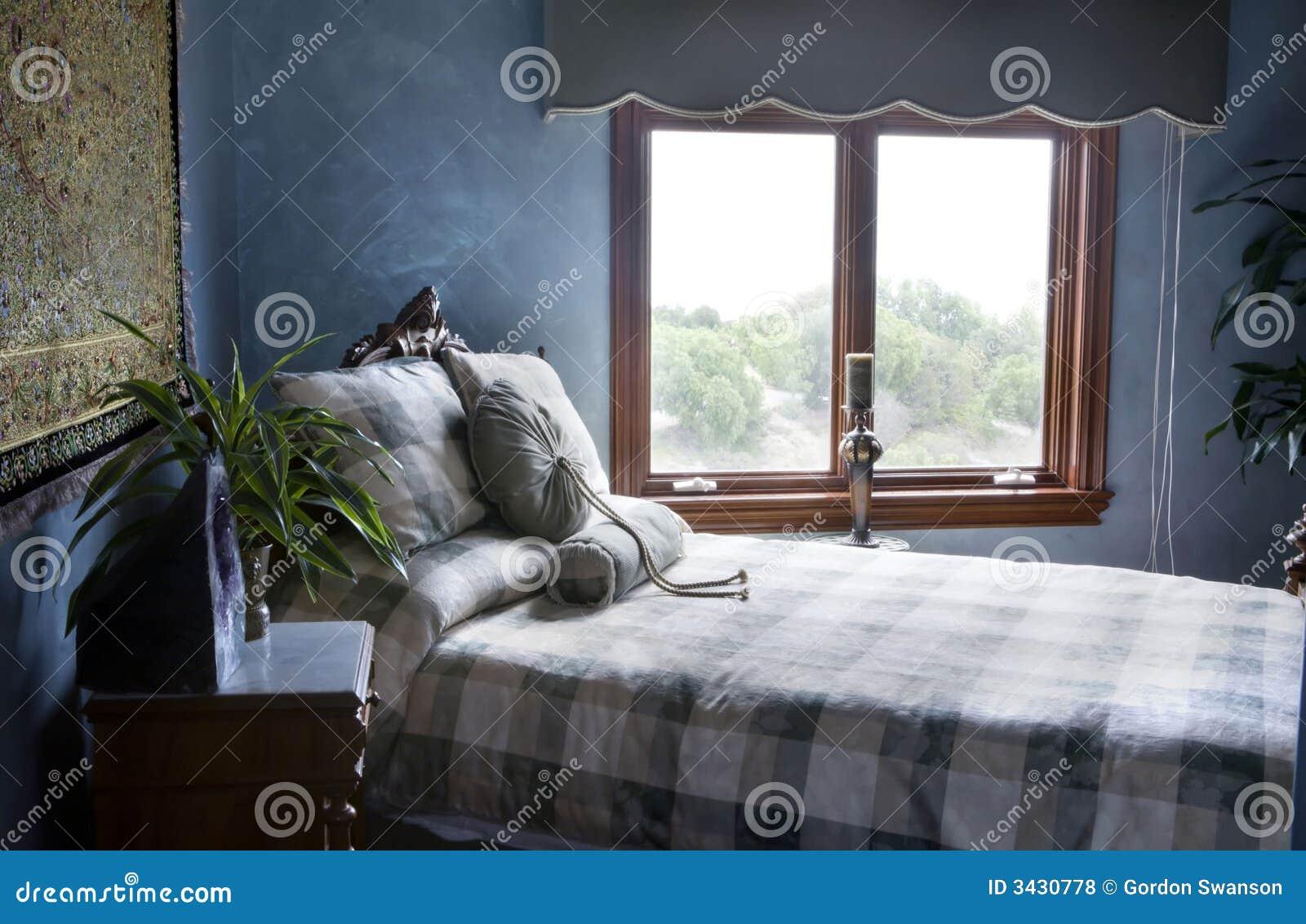 Niebieska Sypialni Zdjecie Stock Obraz Zlozonej Z Model 3430778