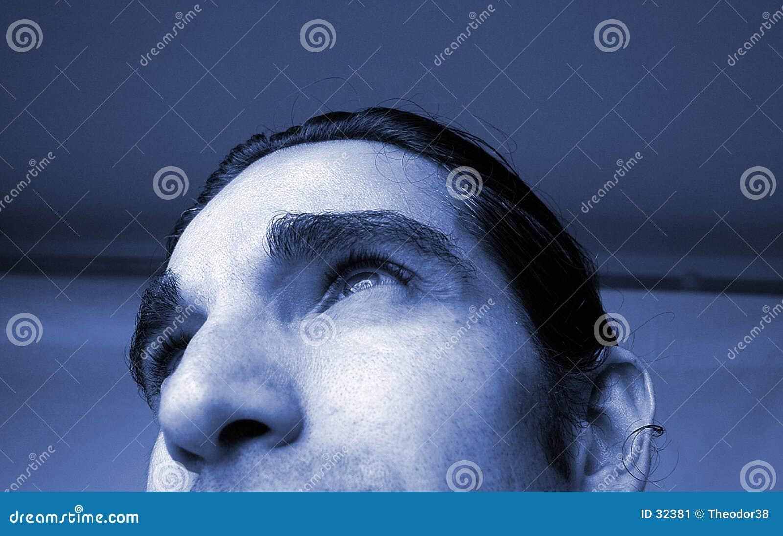 Niebieski człowiek portret