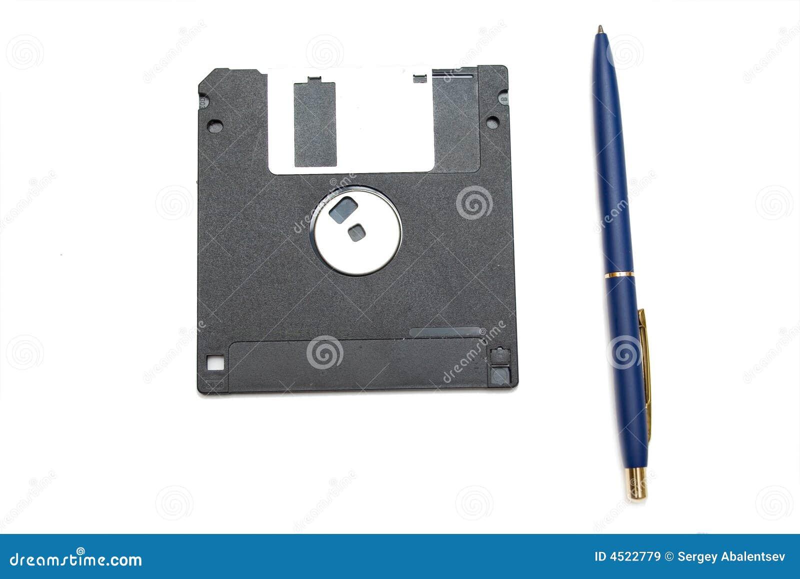 Niebieski diskett długopis.