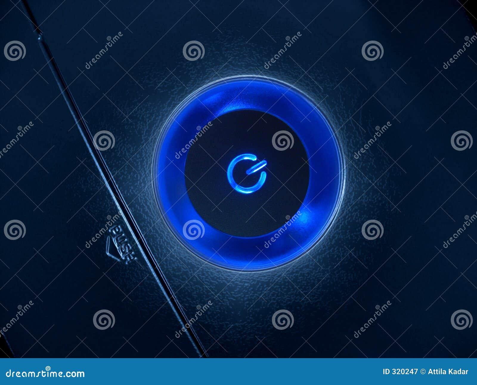 Niebieski przycisk moc