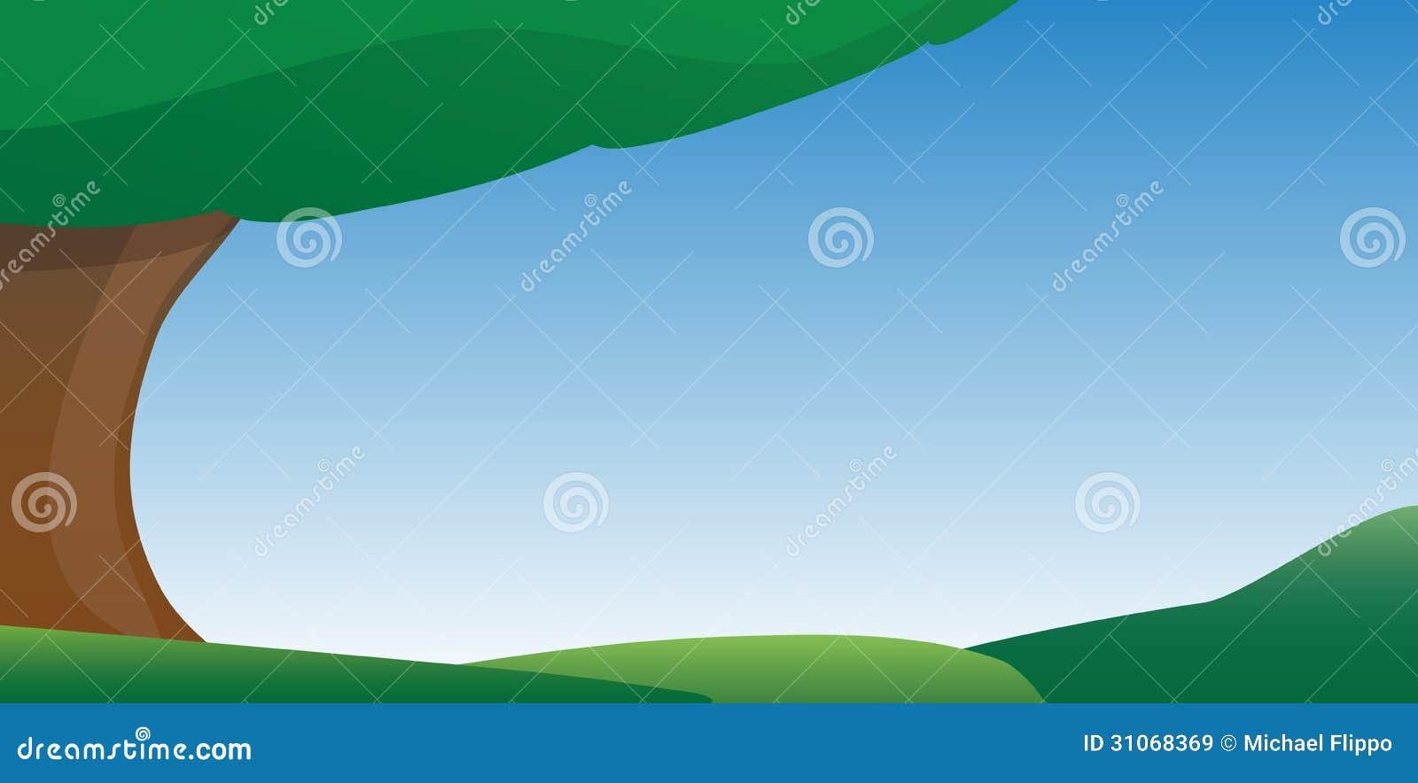 Niebieskiego Nieba i trawy kreskówki tło