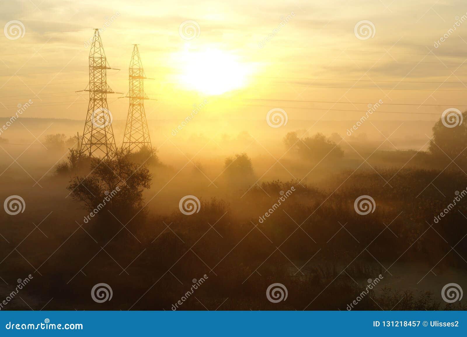 Niebla de la mañana en la naturaleza del otoño, luz anaranjada de la salida del sol en fondo
