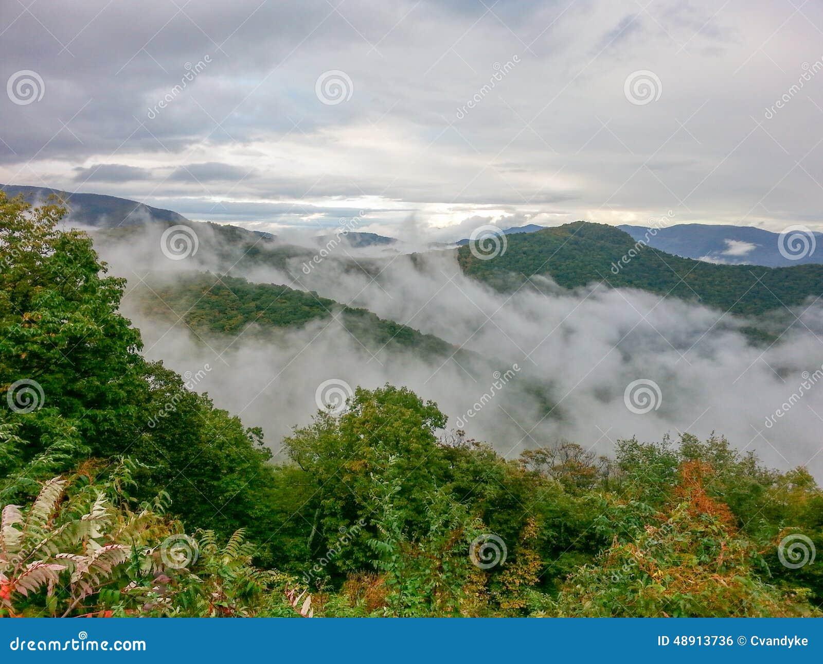 Niebla en Ridge Mountains North Carolina azul
