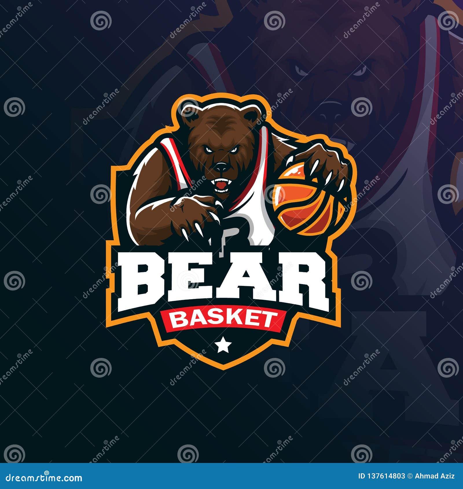 Niedźwiadkowy koszykówki maskotki logo projekta wektor z nowożytnym ilustracyjnym pojęcie stylem dla odznaki, emblemata i tshirt