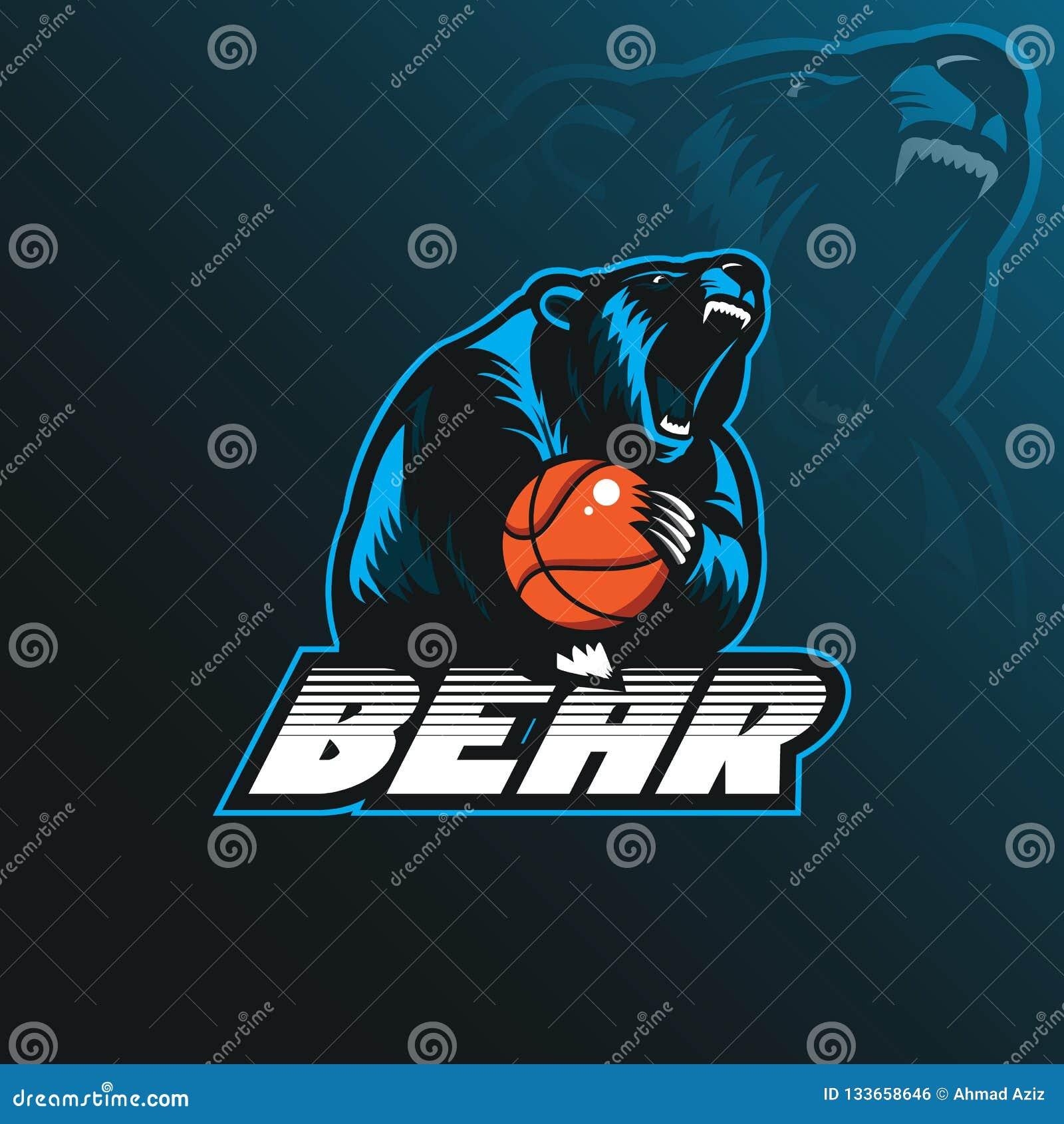 Niedźwiadkowy maskotka logo projekta wektor z nowożytnym ilustracyjnym pojęciem