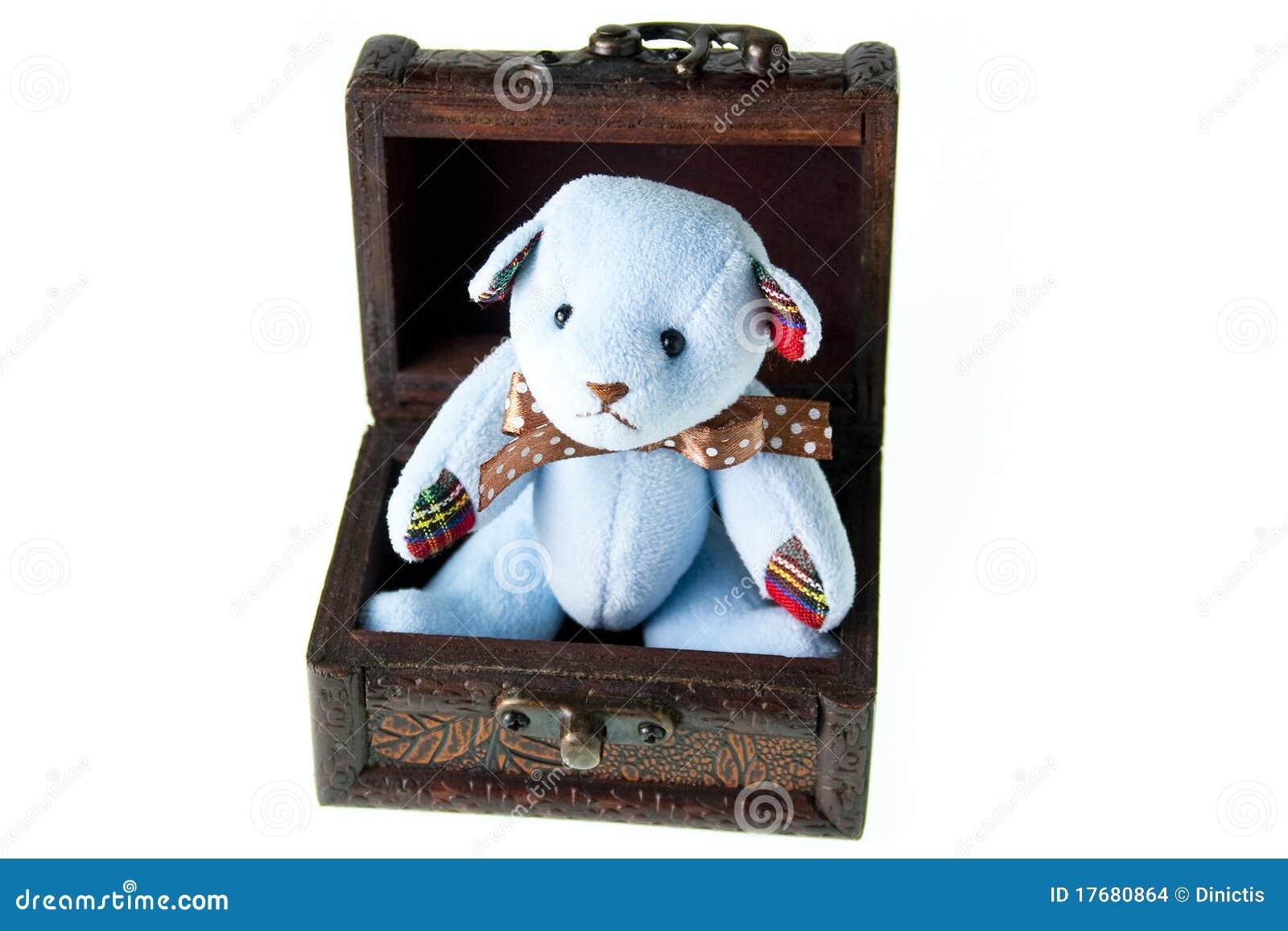 Niedźwiadkowy pudełkowaty śliczny odosobniony nagrodzony biały drewniany